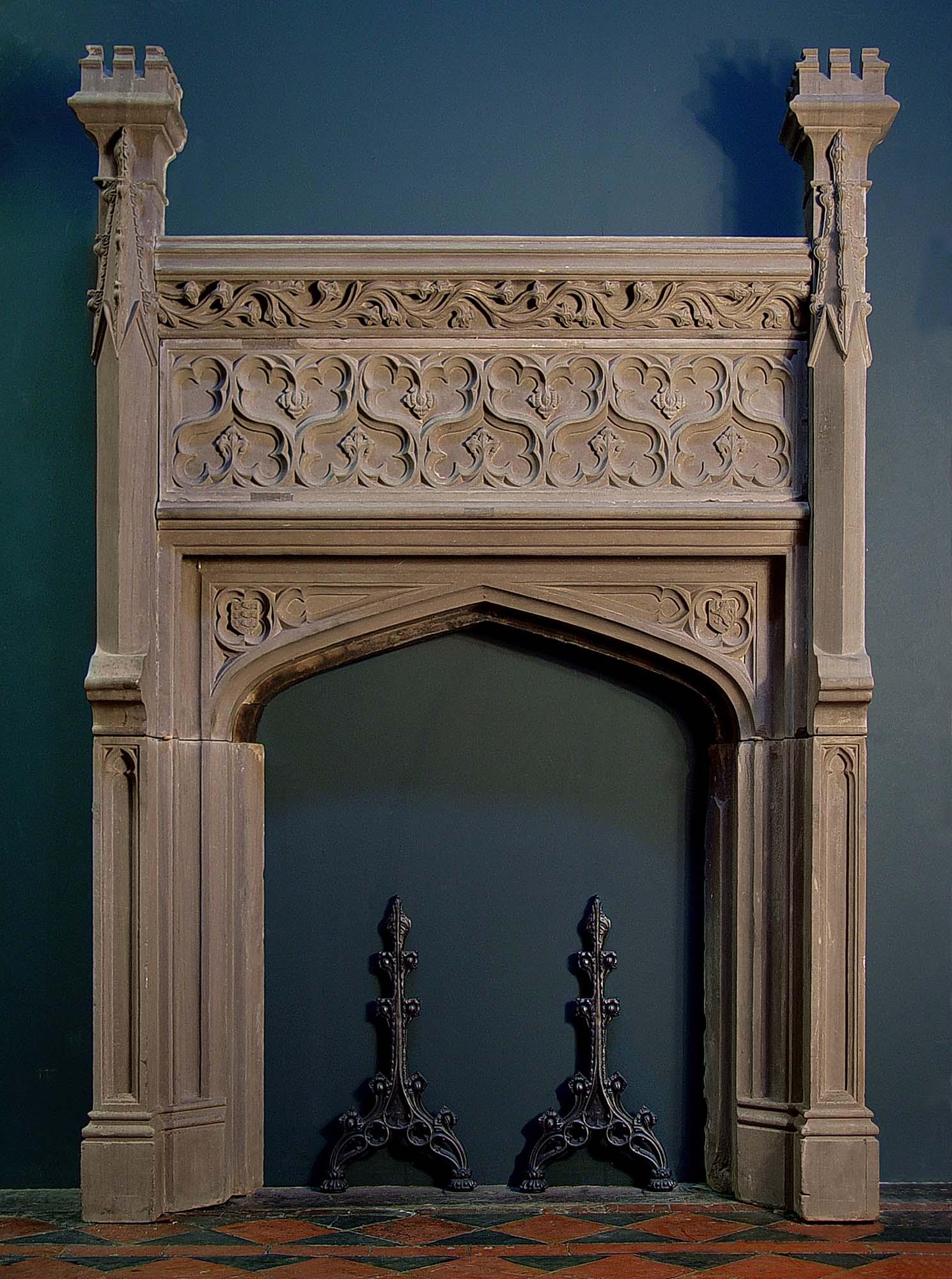 A Tall Antique Italian Renaissance Oak Fireplace Mantel