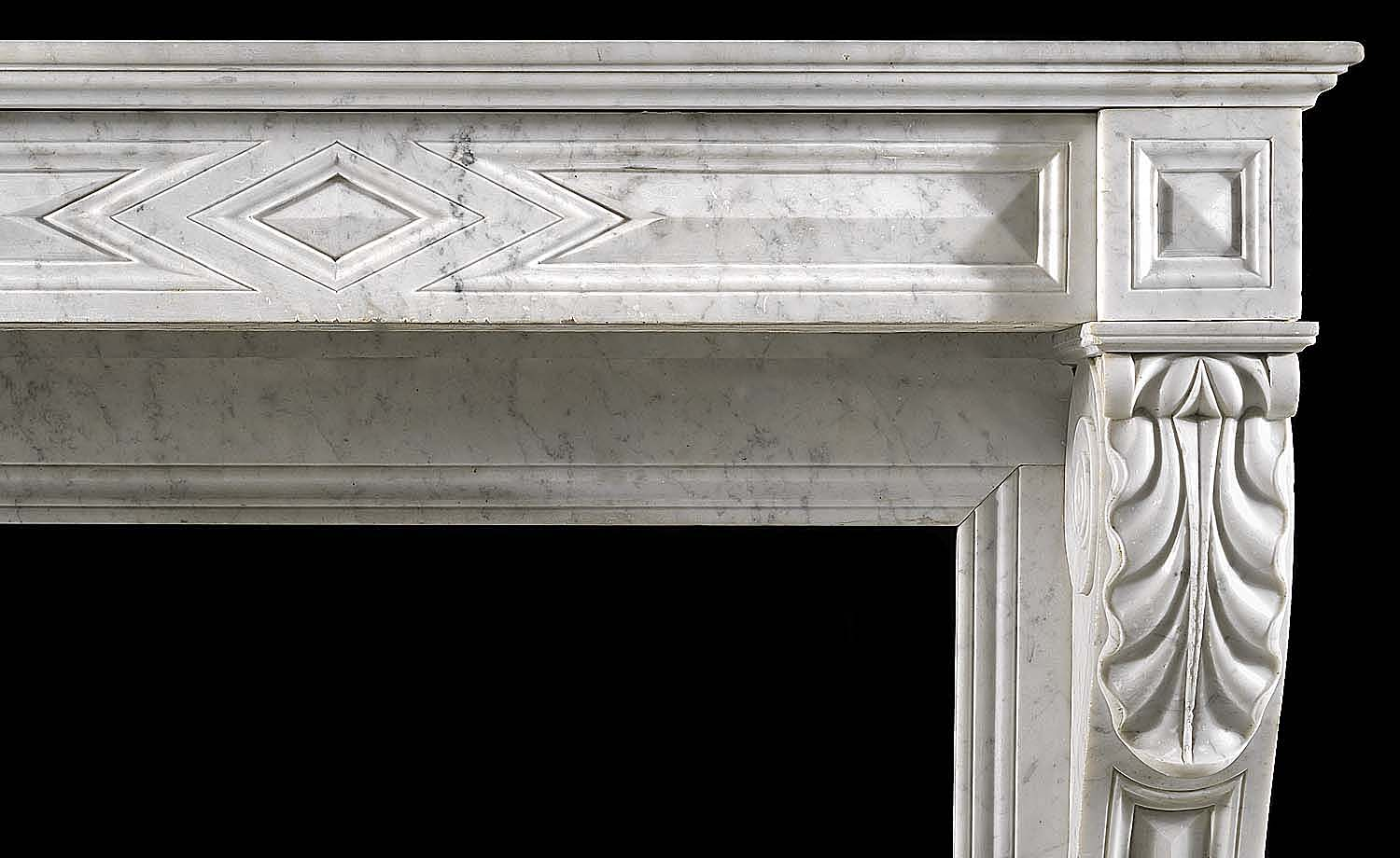A Carrara Marble Louis XVI style Cheminee Fireplace Surround