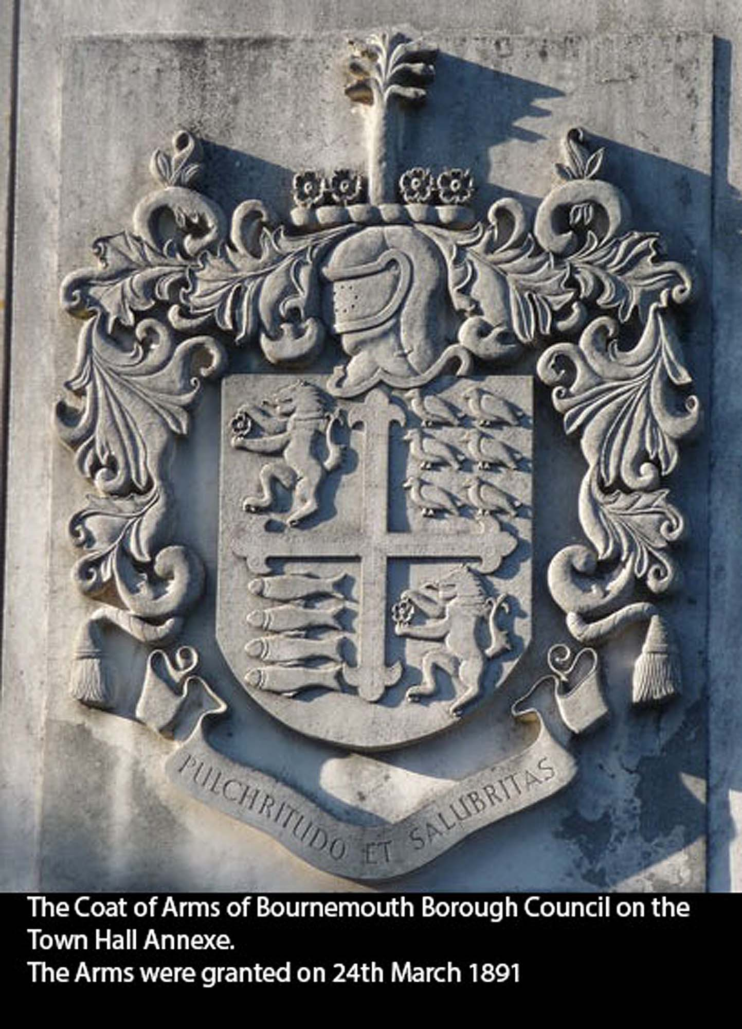 An Antique cast iron Coat of Arms of Bournemouth Borough Council