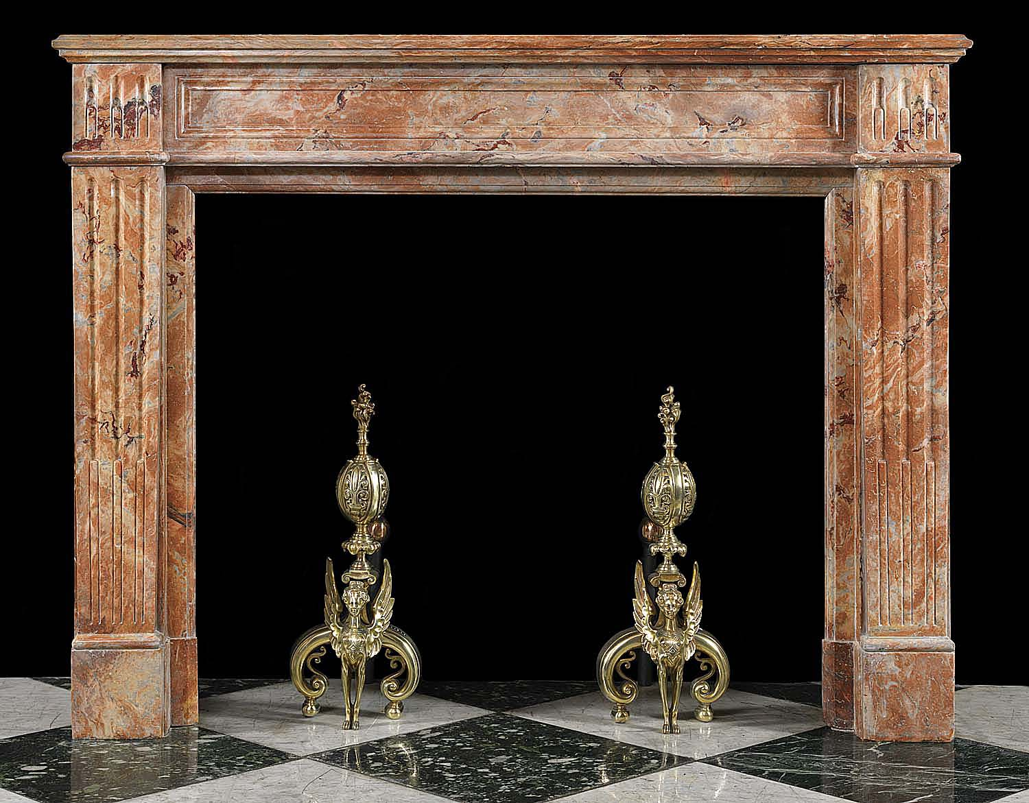 Petite Antique French Bedroom Marble Fireplace Mantle