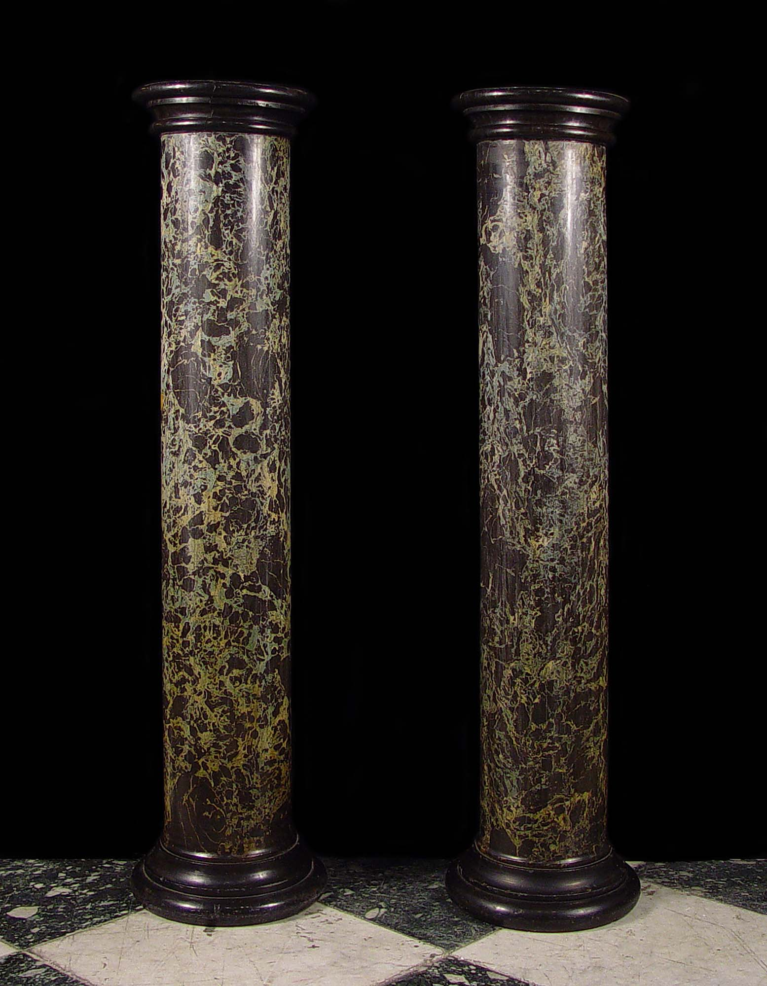 Antique pair of Scagliola and black slate Italian columns