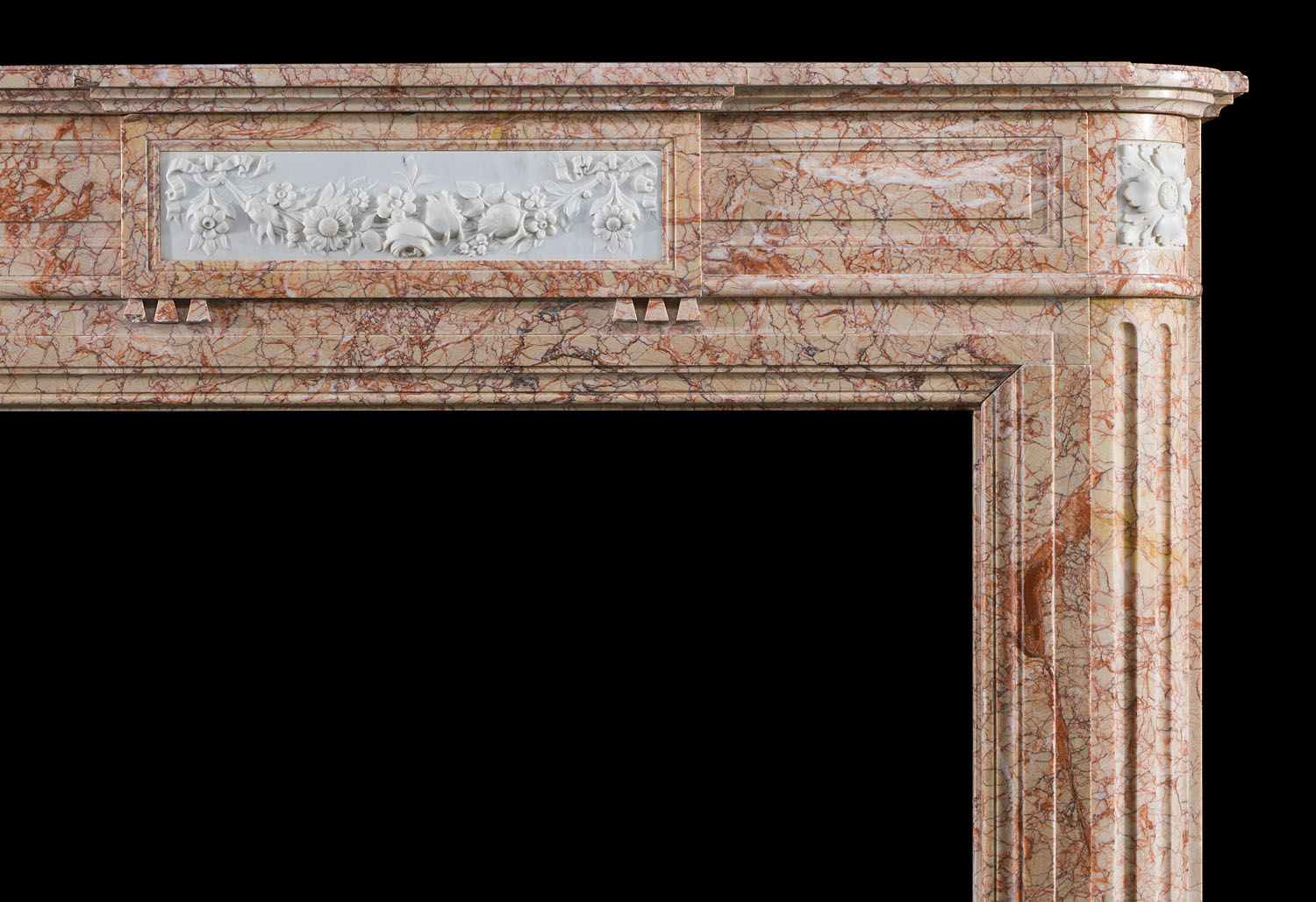 An Antique Louis XVI Buixcarro Crema Marble Cheminee Fireplace Surround