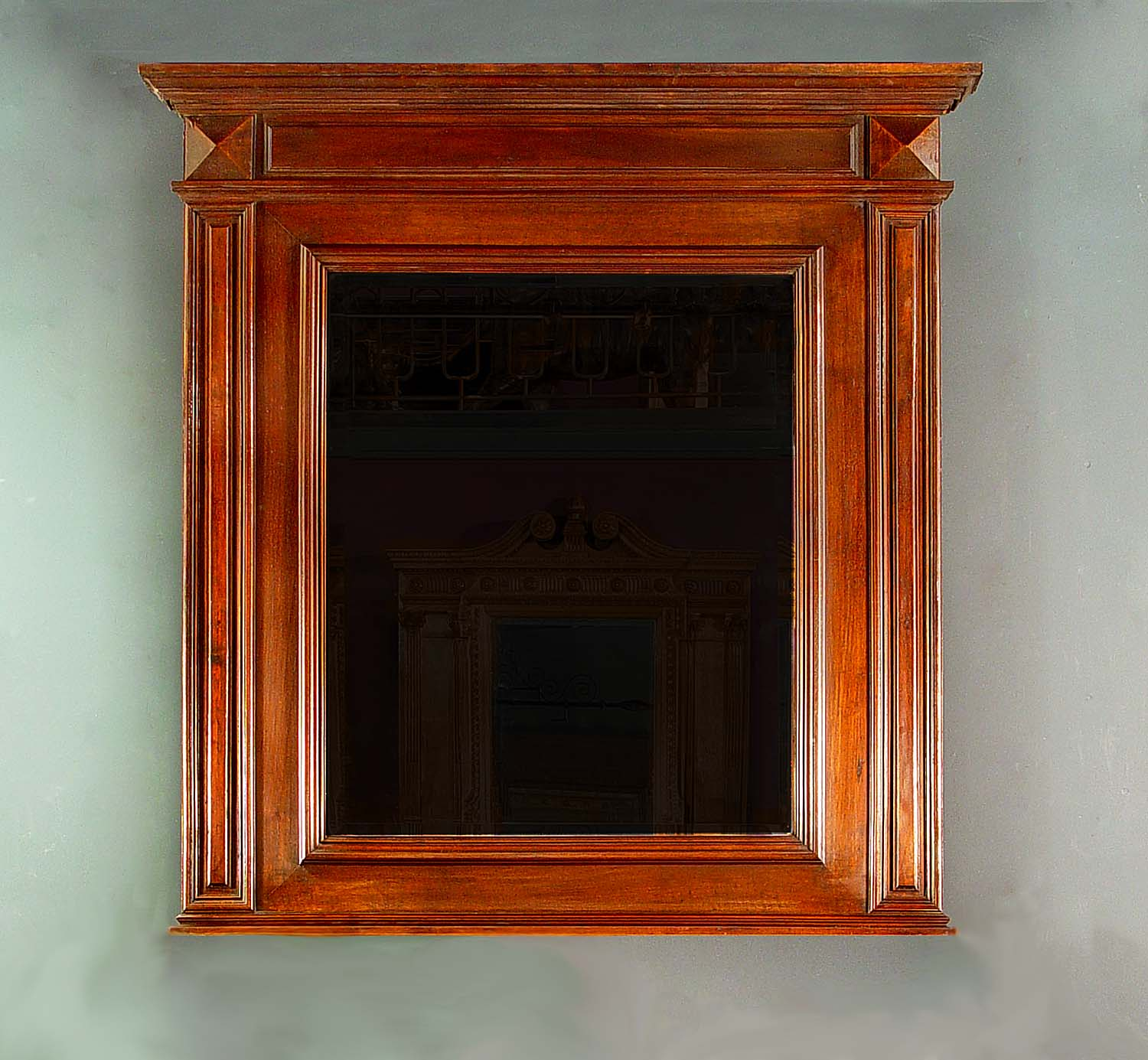 Antique Louis XIV Overmantel Mirror in Walnut with the original glass
