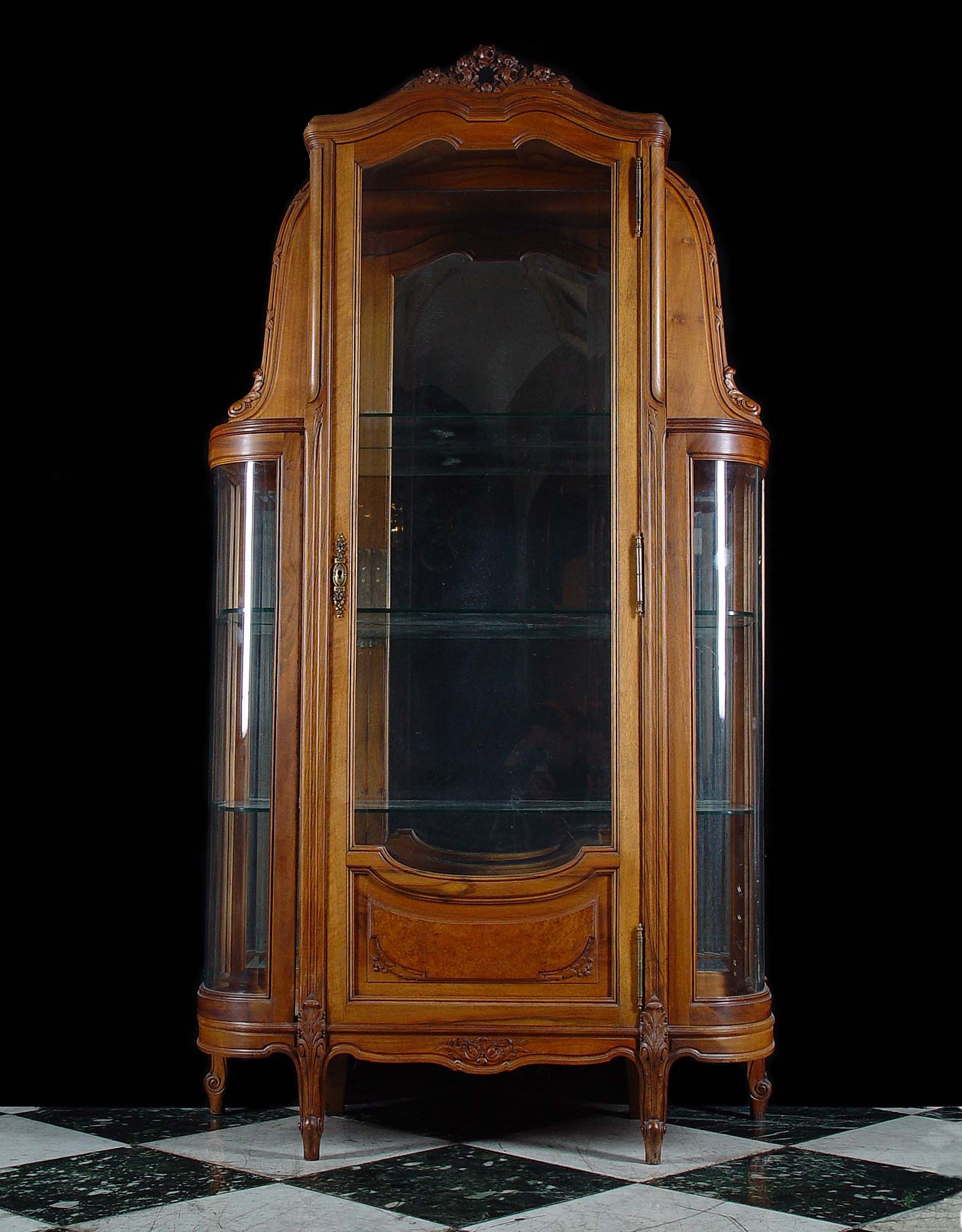 Antique Louis XVI style Walnut Display Cabinet
