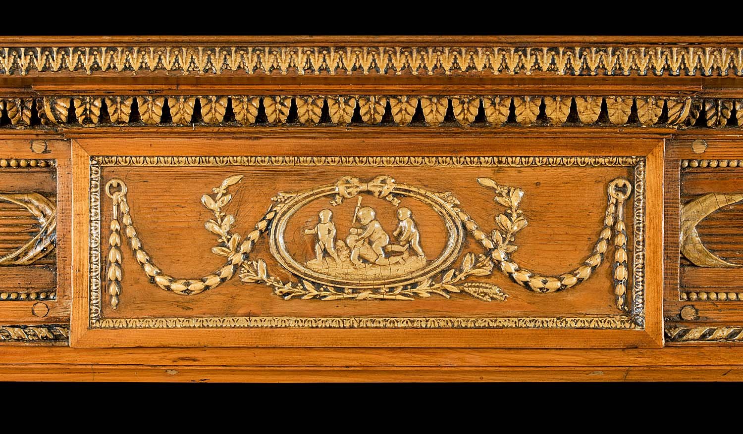 Antique Late 18th century PIne & Gesso Georgian Carved Pine Chimneypiece