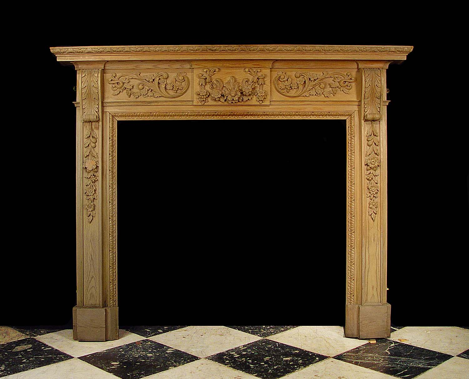 antique georgian carved pine wood fireplace mantel