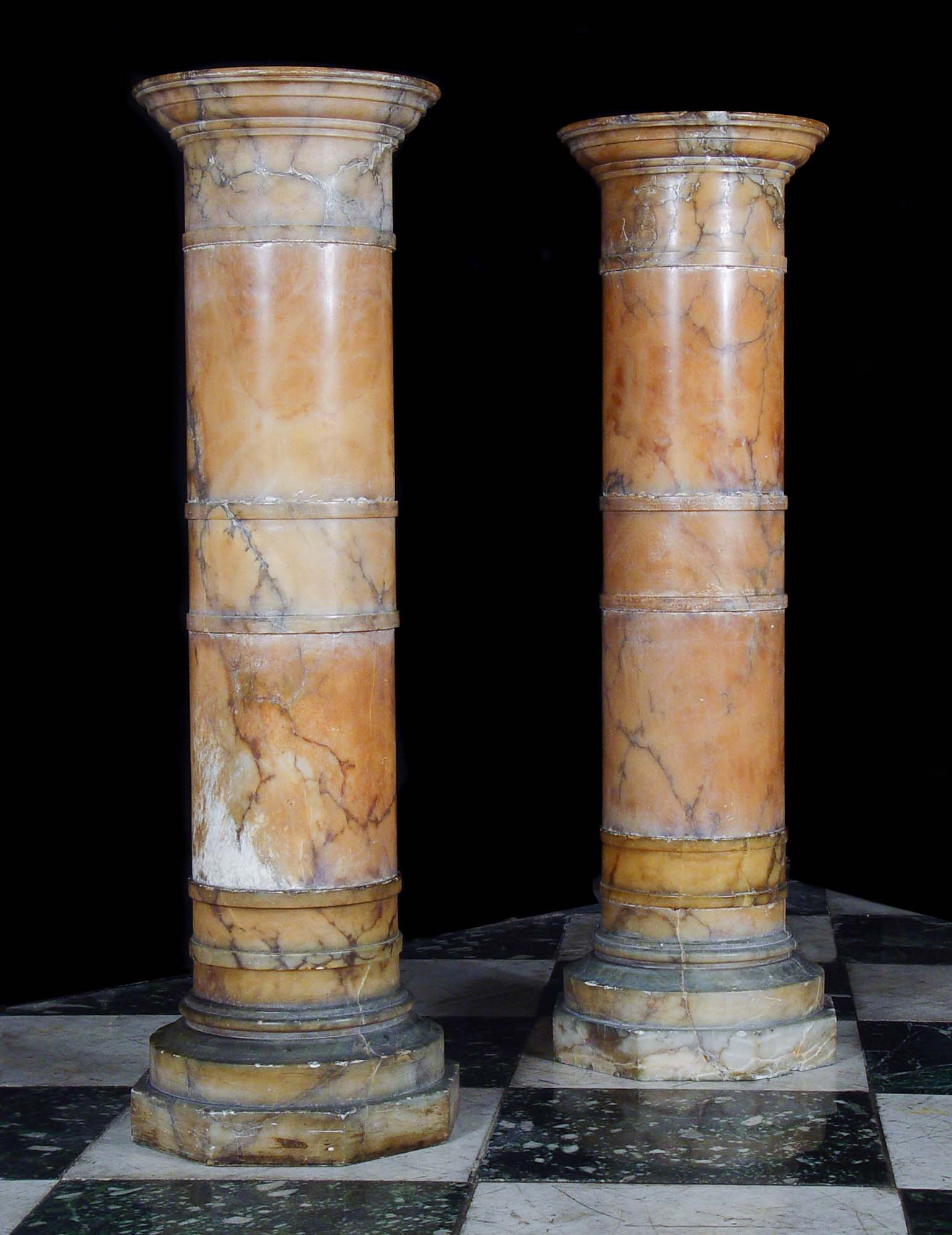 Alabaster pair of Victorian pedestals