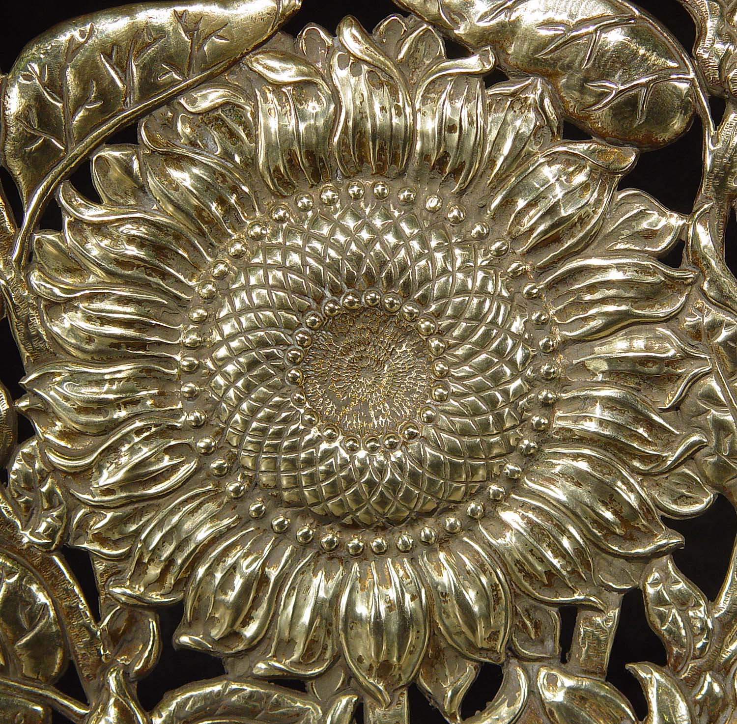 Antique Brass Fire Guard in the Baroque style in a gadrooned Urn