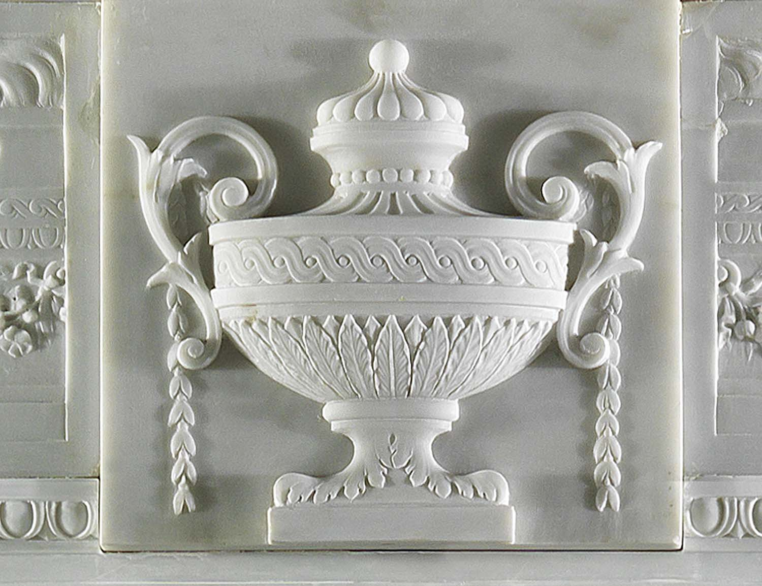 Italian neoclassical white marble fireplace surround