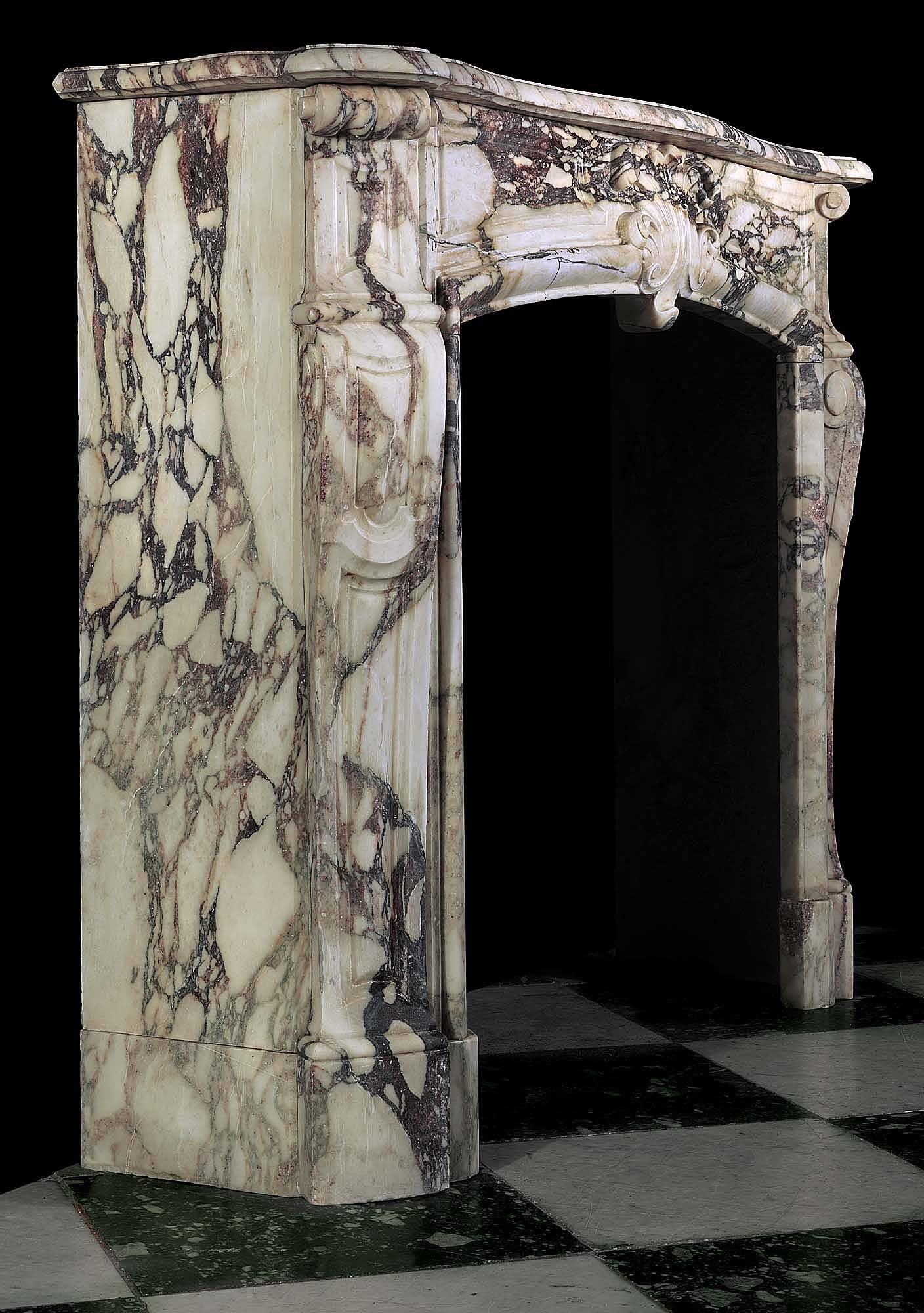 Antique Louis XVI Fireplace in Medicis Breccia Marble