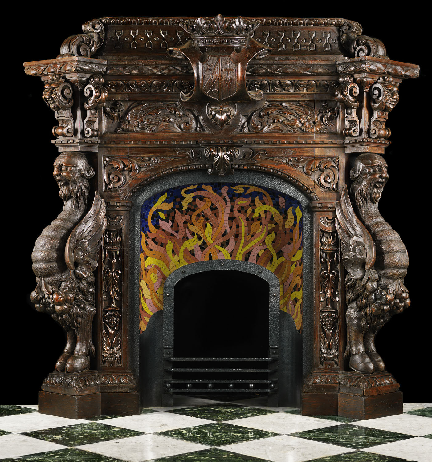 Antique Spanish Mannerist Wood Fireplace Mantel