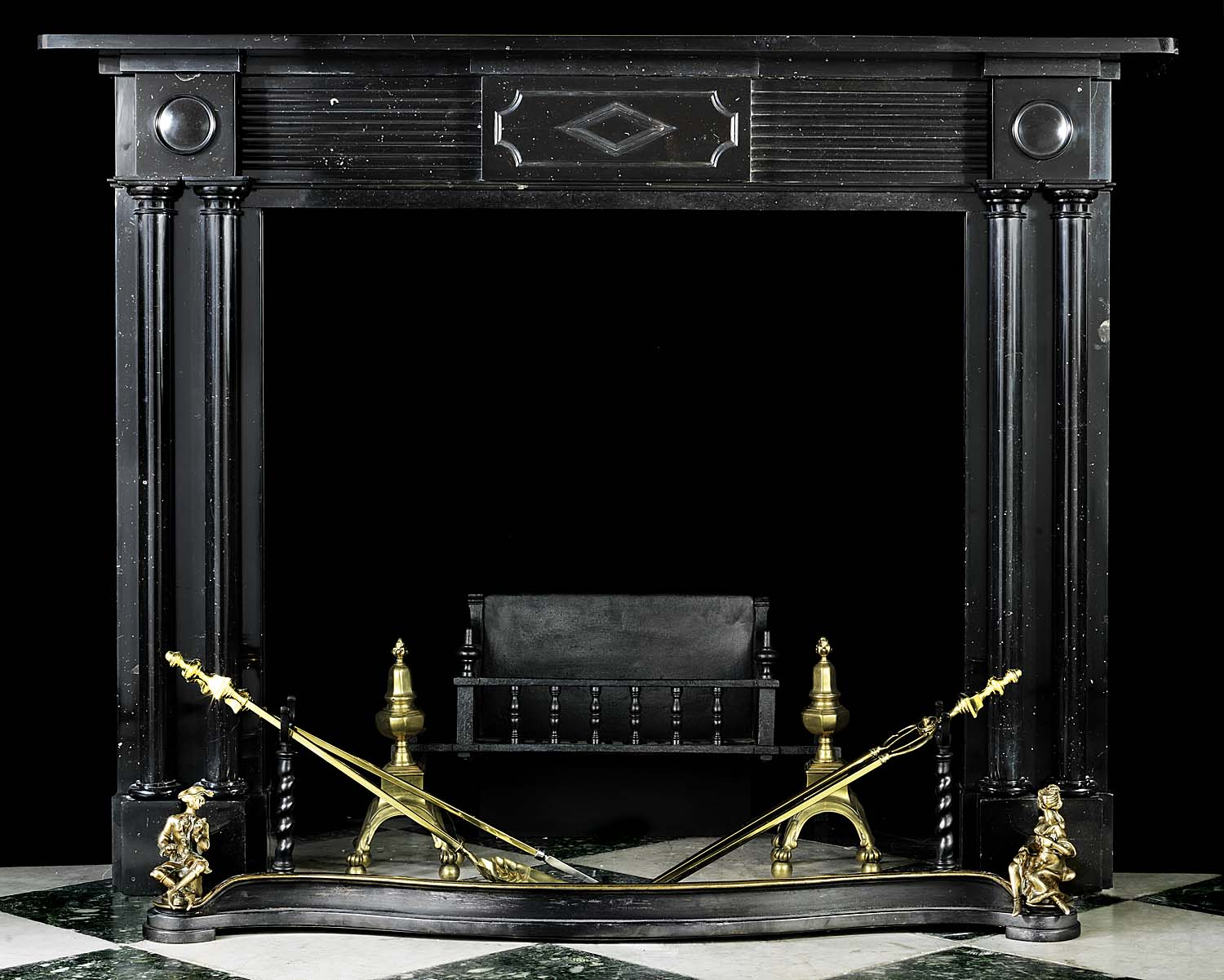 An Antique Regency Kilkenny Black Fossil Marble Chimneypiece Mantel