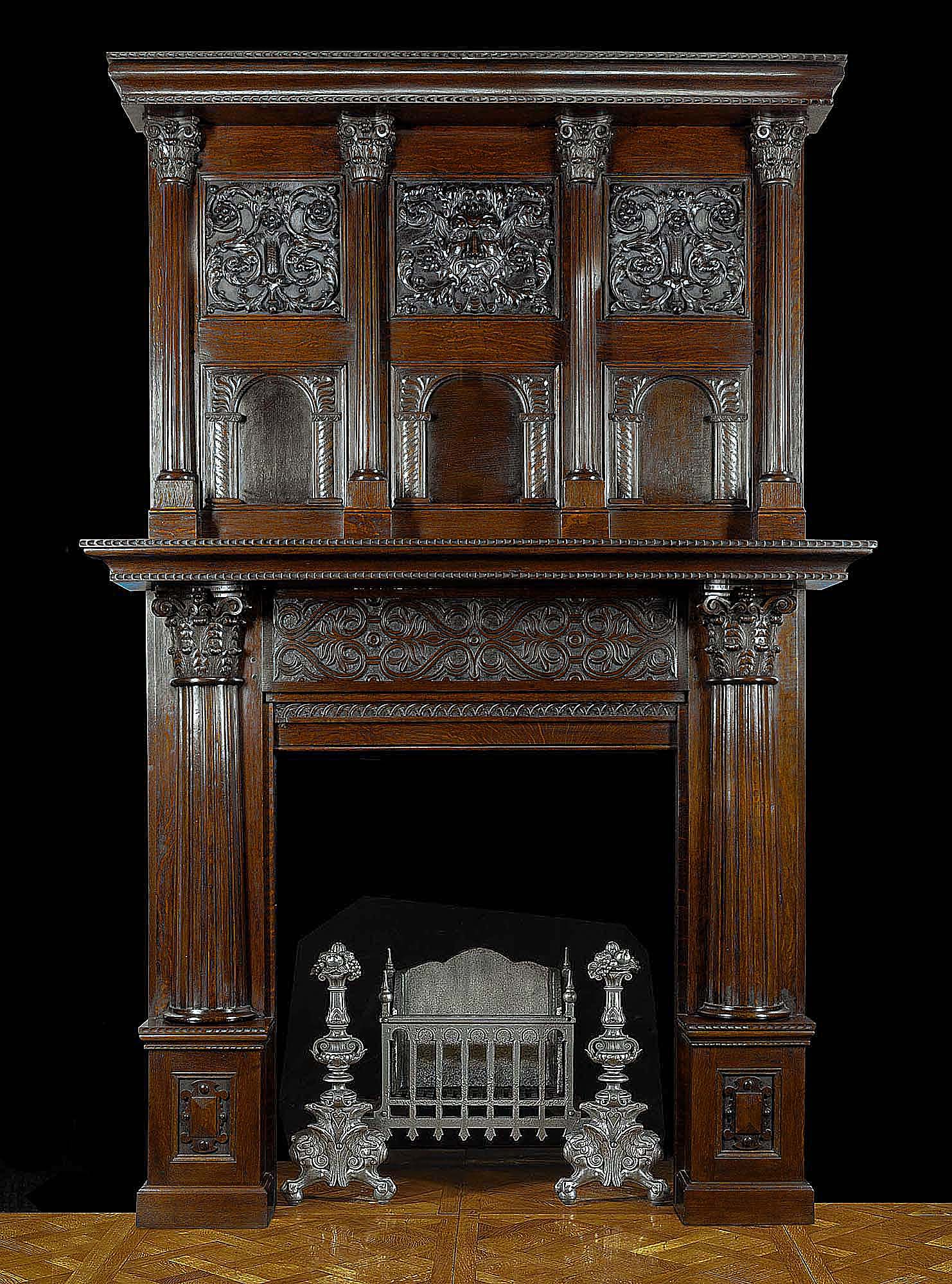 antique english jacobean fireplace and overmantel carved in oak. Black Bedroom Furniture Sets. Home Design Ideas