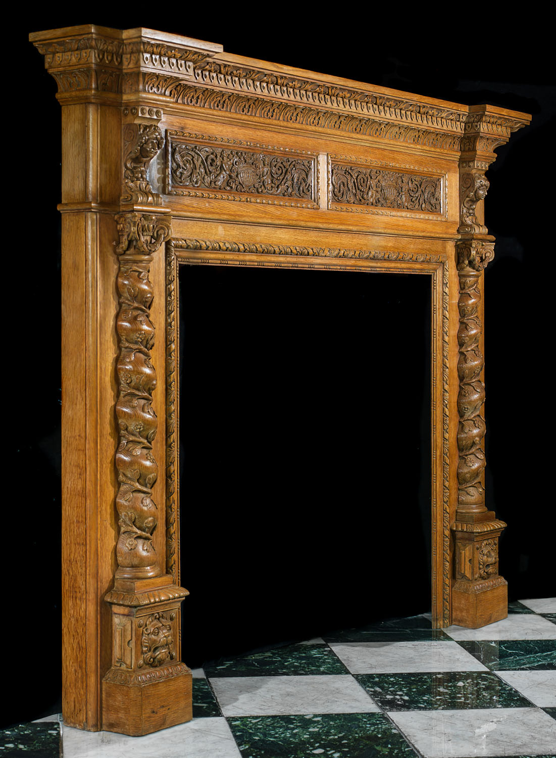 Large Carved Oak Renaissance Fireplace Mantel Westland