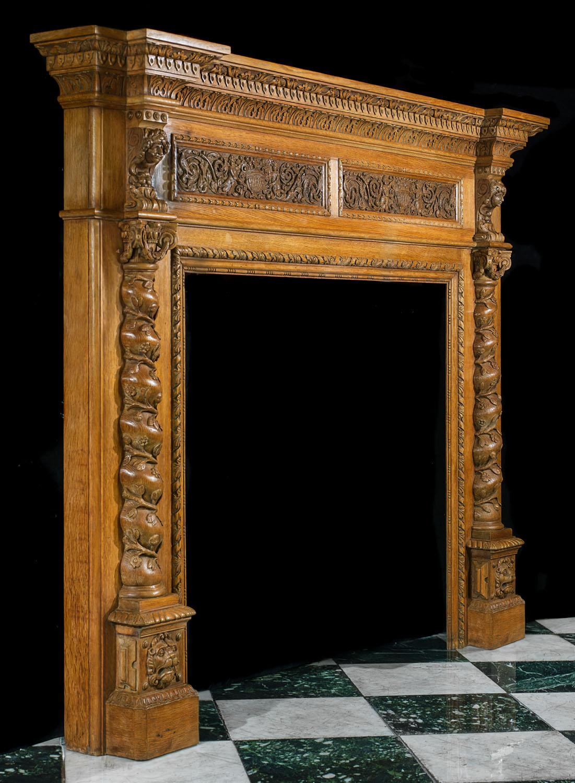 Large Carved Oak Renaissance Fireplace Mantel Westland