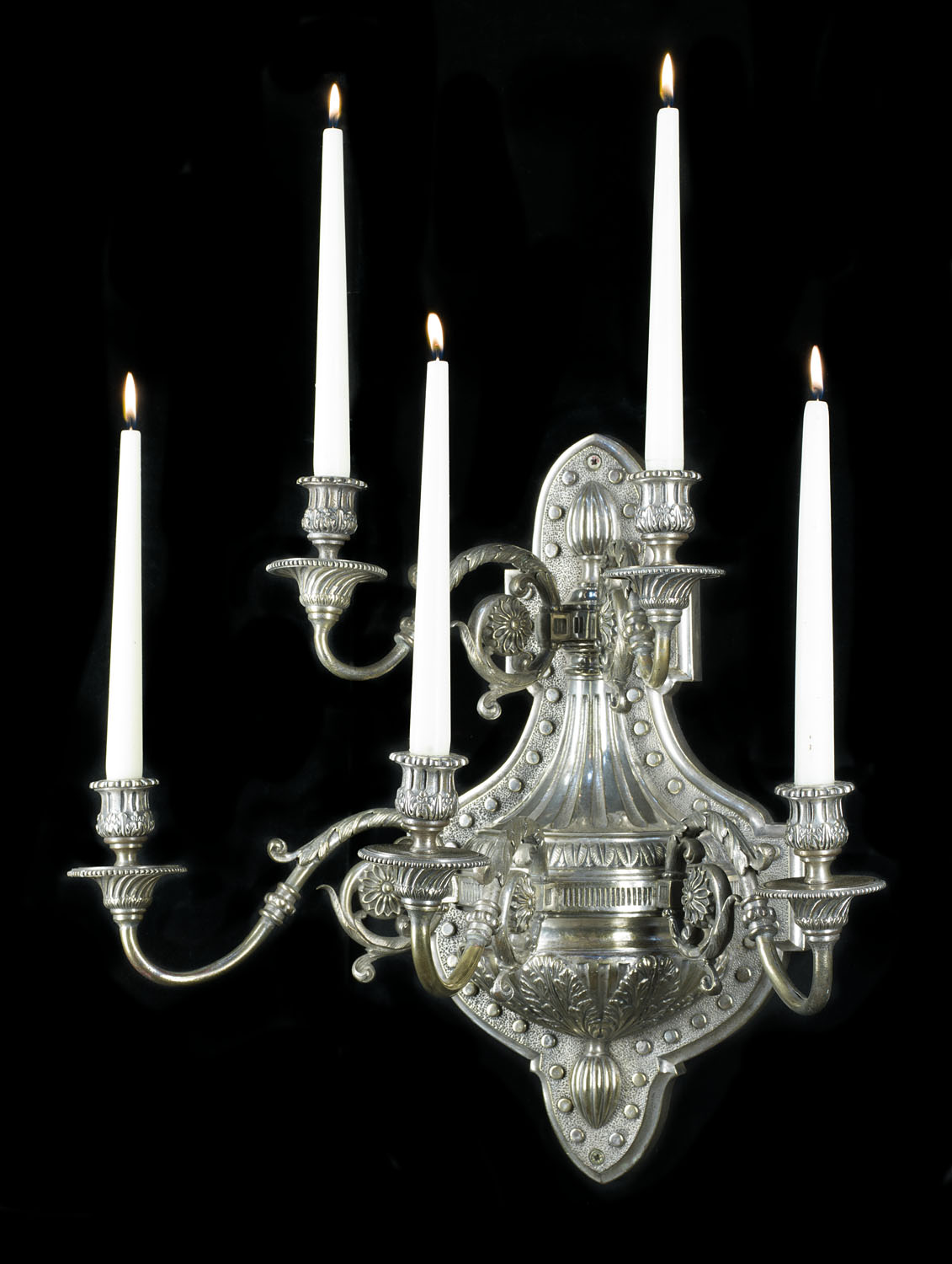 Large pair of nickel plated five branch wall sconces