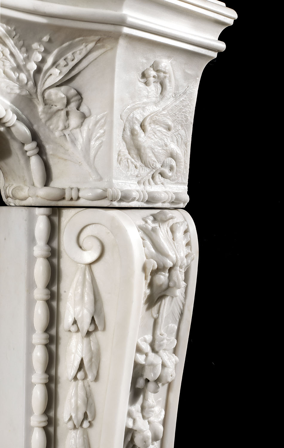Rare antique Italian Baroque chimneypiece statuary marble