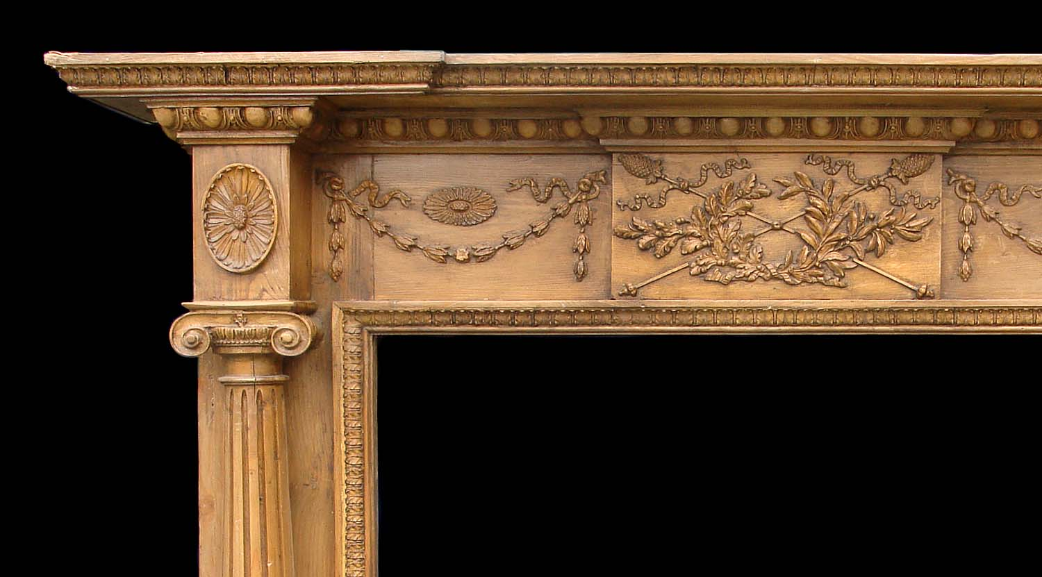English Carved Pine Fireplace Mantel Westland London