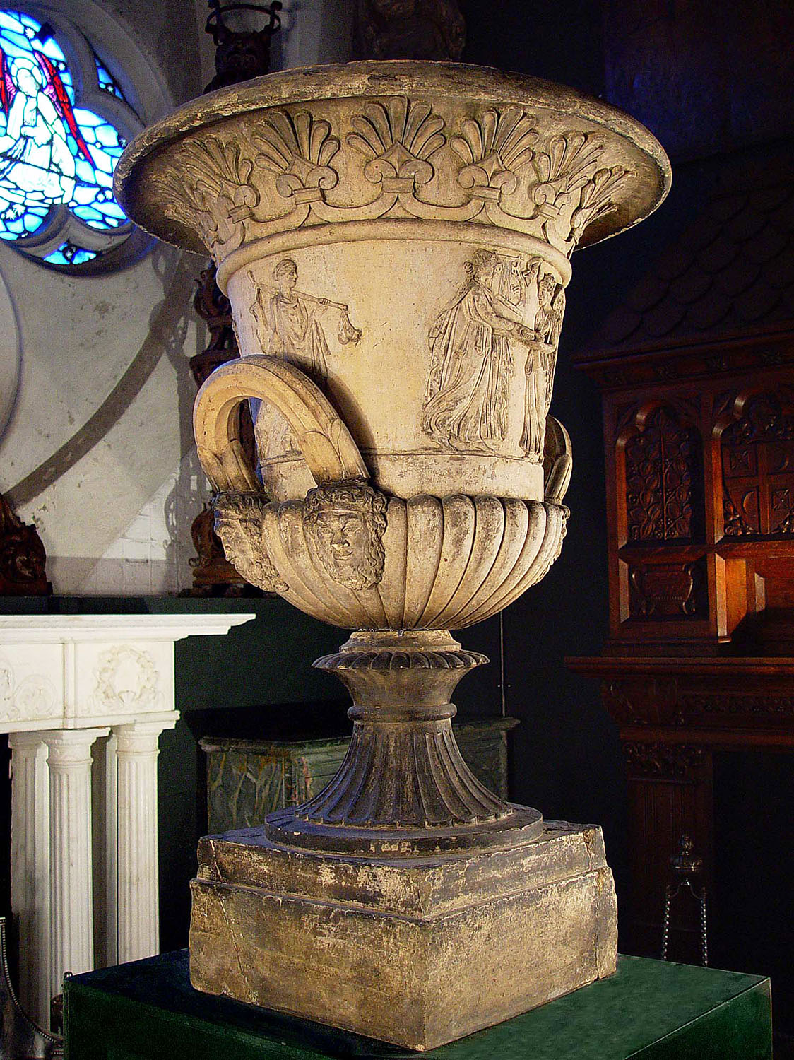 A large Greek Revival style antique terracotta campana urn