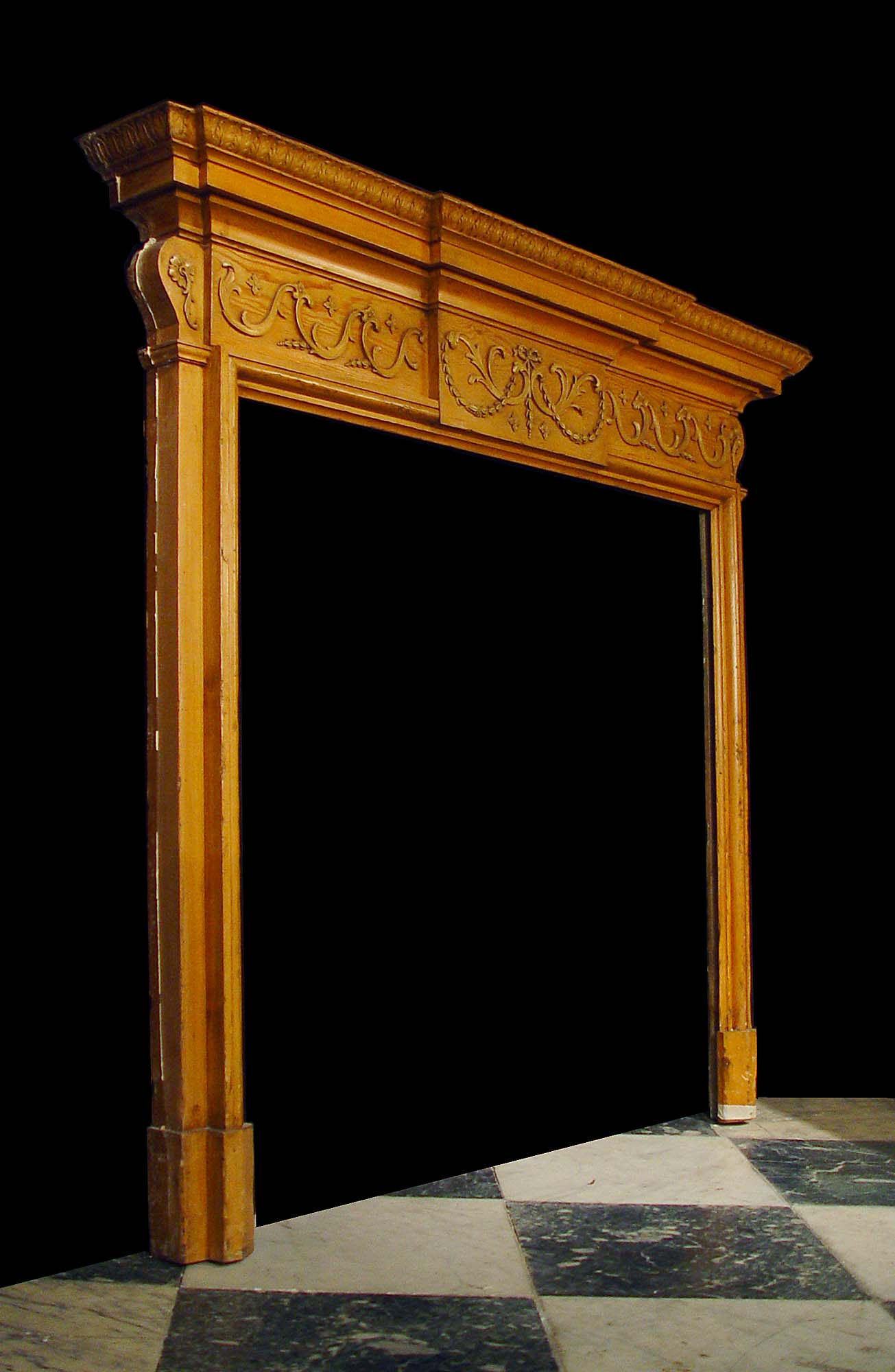 Antique Carved Pine Wood Neo Classical Fireplace Mantel
