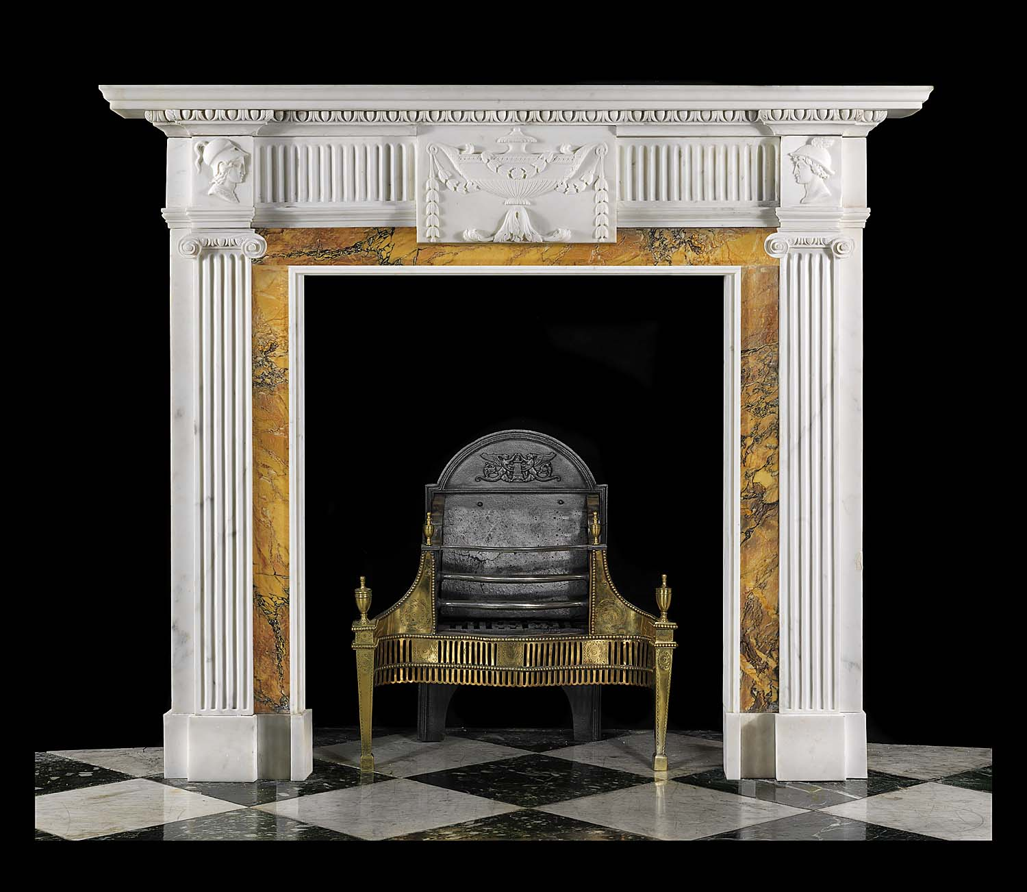 An Antique statuary & siena marble Neoclassical chimneypiece