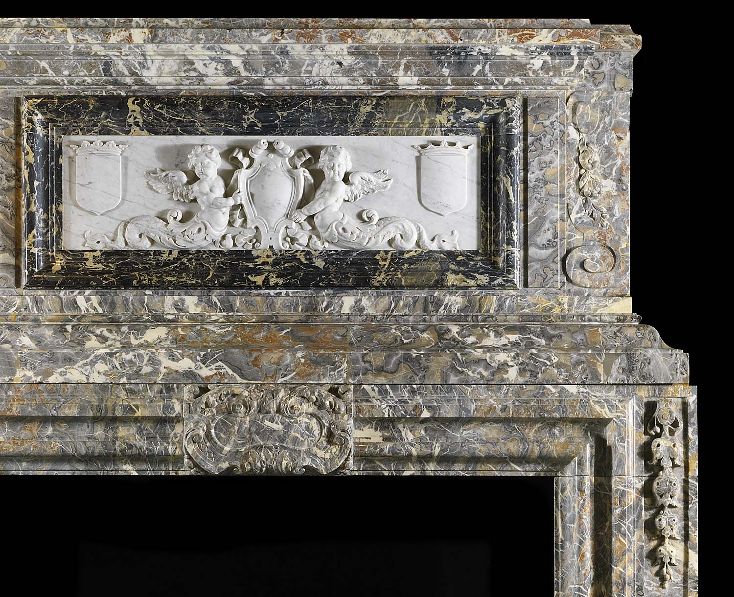 Antique Flemish Baroque carved Marble Fireplace with Plaque