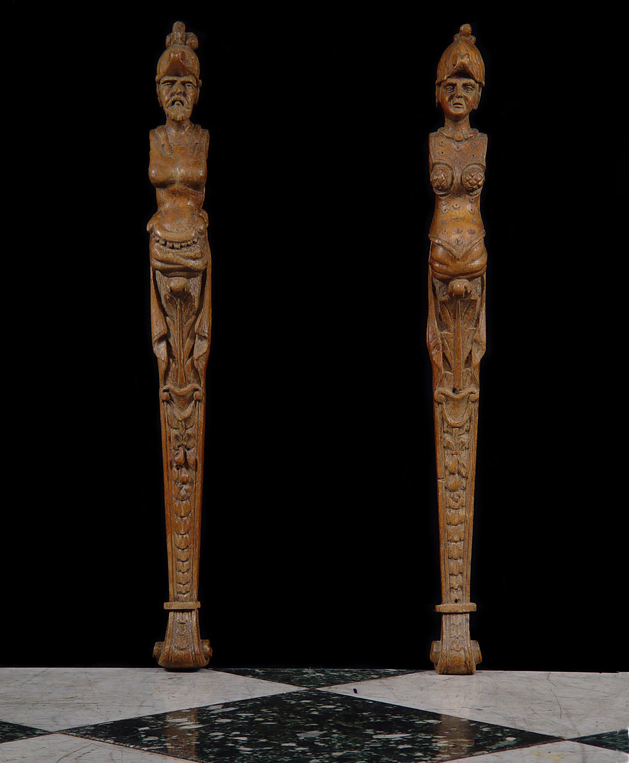 Antique Carved Oak Terms as Male and Female Figures, Spanish Mannerist