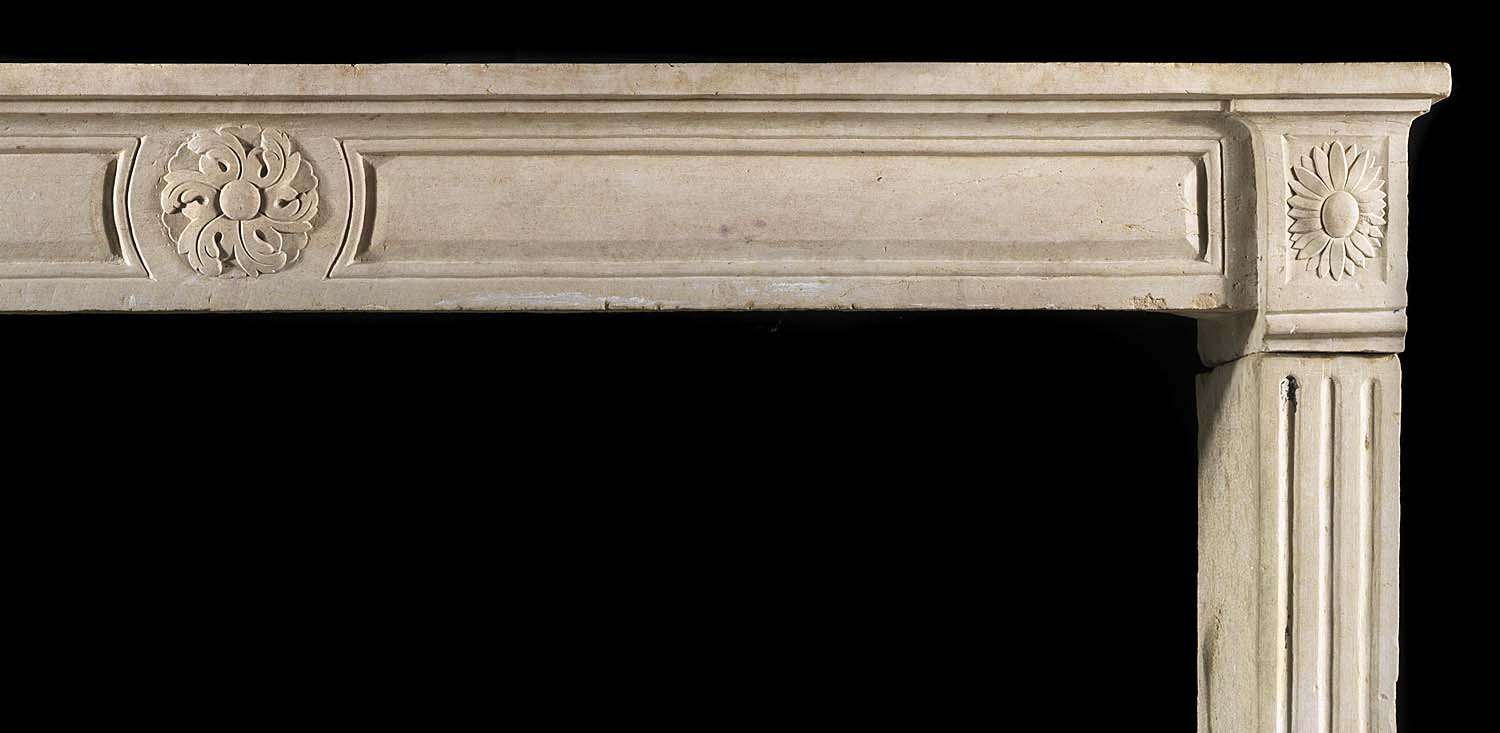 Antique Limestone Period French Louis XVI Chimneypiece