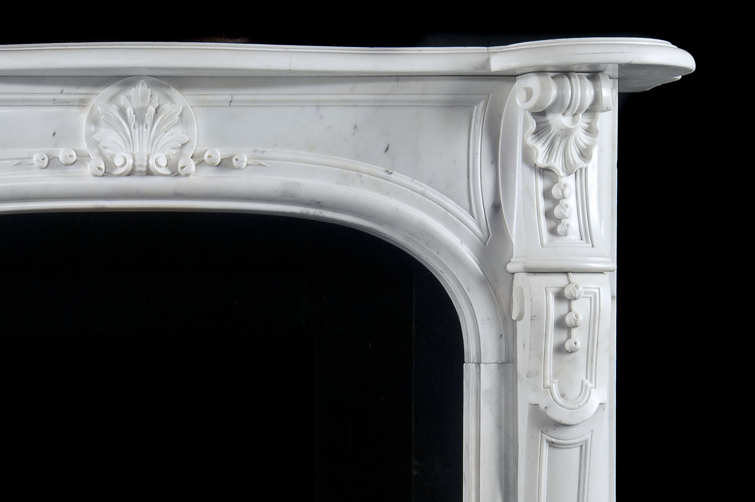 Antique small White Statuary Marble Louis XVI Fireplace Mantle