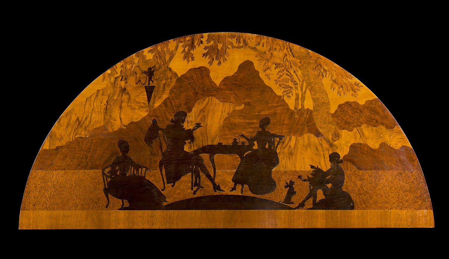 A Marquetry Wood Panel depicting a Fete Champetre Landscape