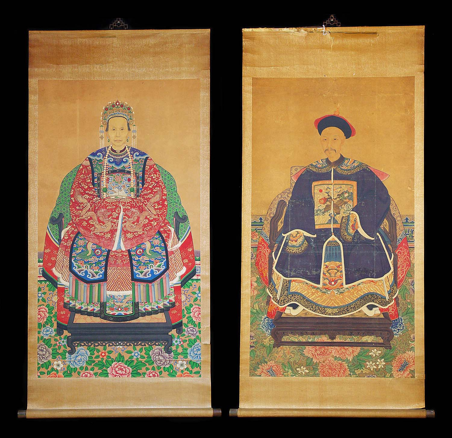 Antique 19th Century Watercolour Pair of Chinese Portraits