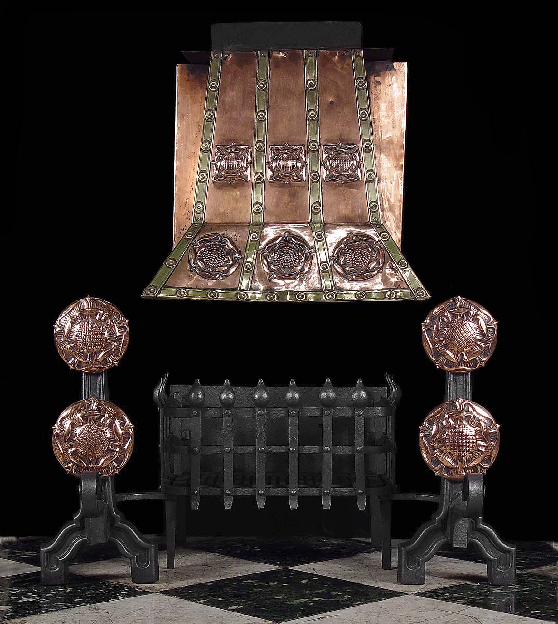 A Tudor Revival Iron and Copper Antique Fire Grate, with intergal Hood & Andirons