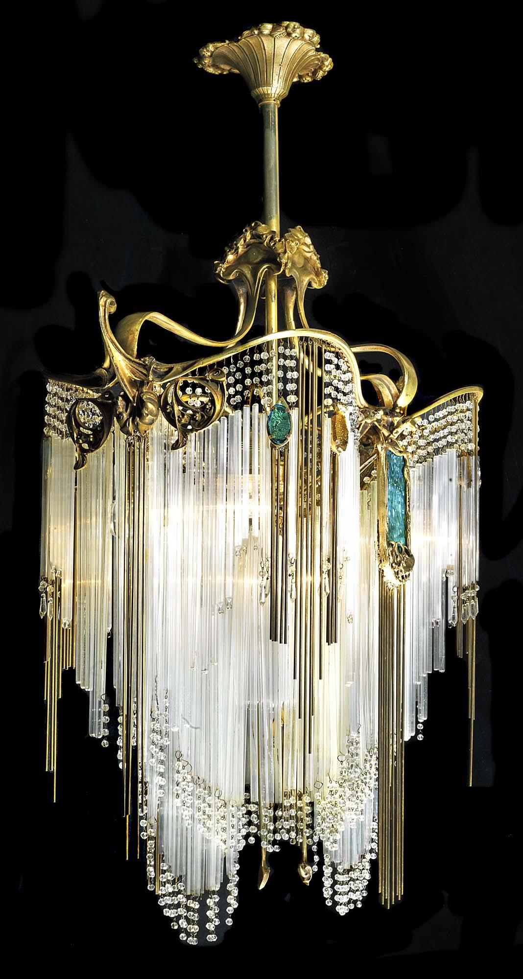 Art nouveau chandelier hector guimard antique art nouveau chandelier in the manner of hector guimard mozeypictures Images
