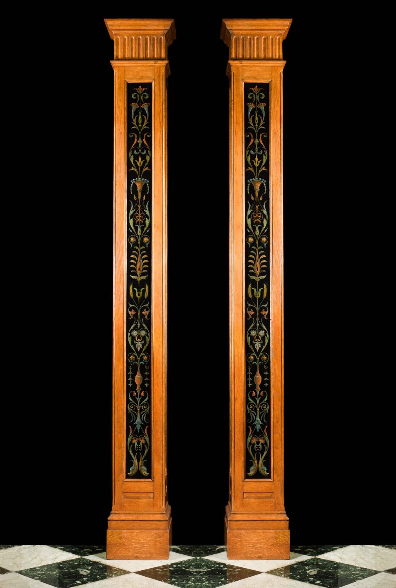 Pair Of Antique Painted Square Columns