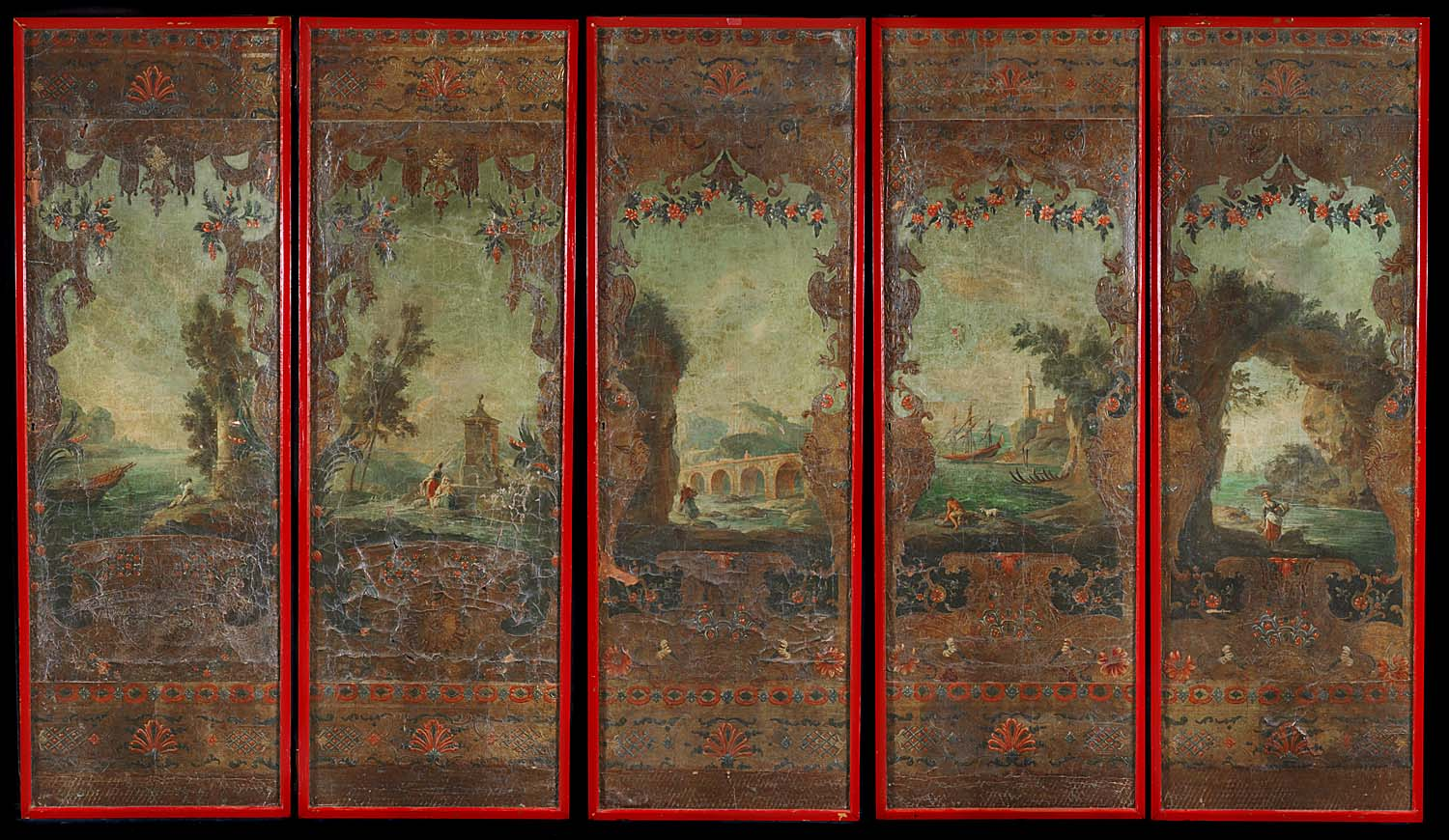 A set of five 18th century embossed and painted antique leather panels