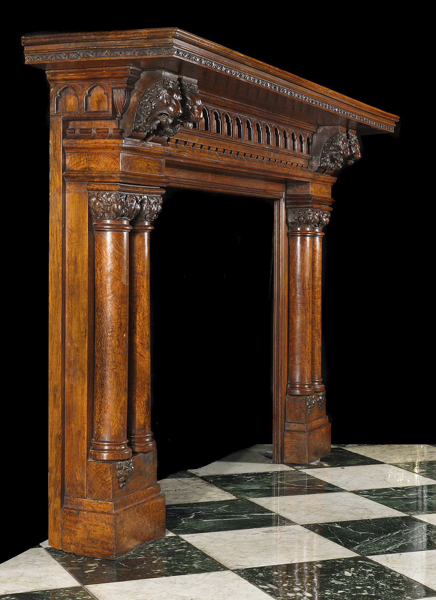 Antique Carved Oak Jacobean Fireplace Mantel A Small Oval