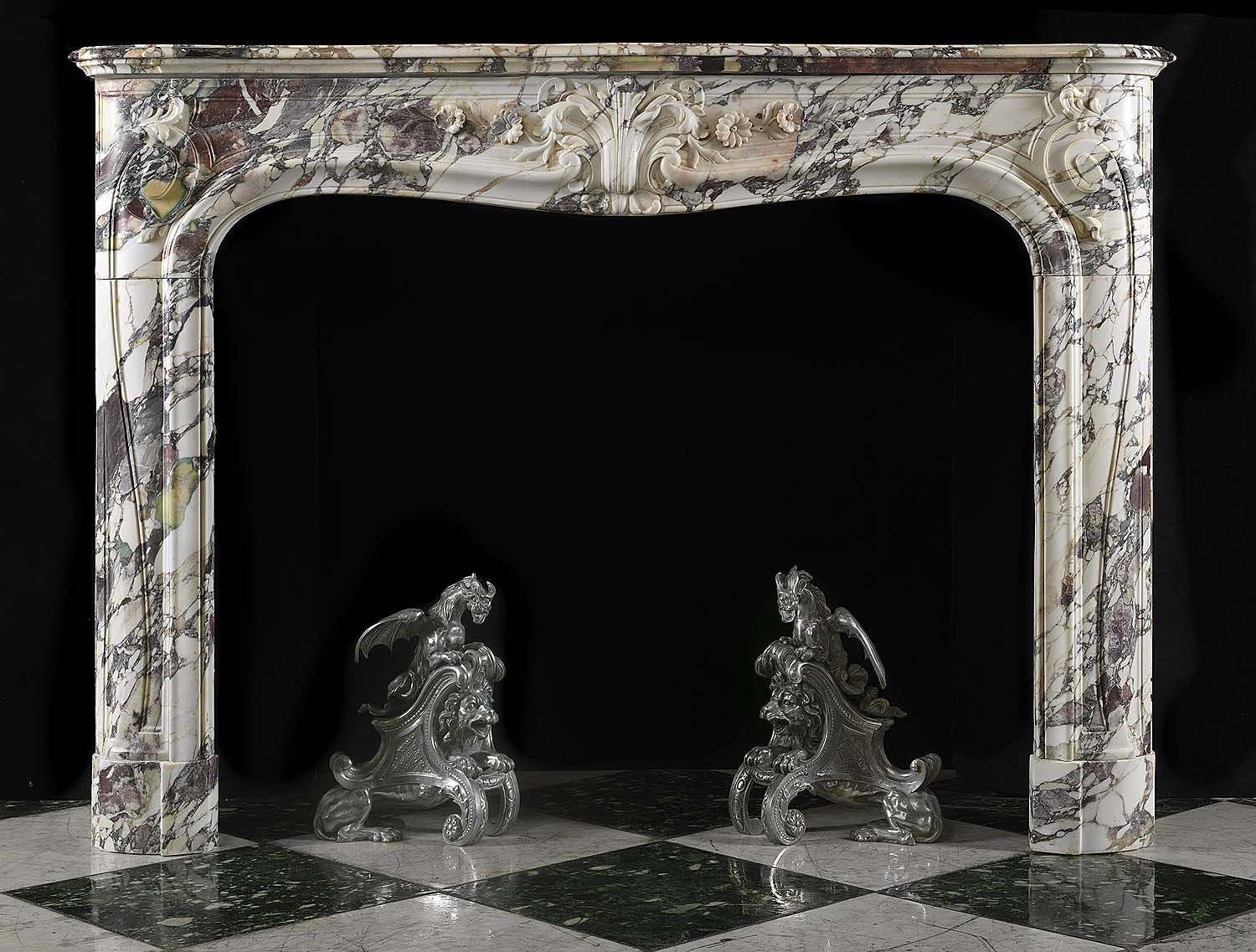 Antique French Rococo Louis XV Fireplace carved in Breche Violette Marble