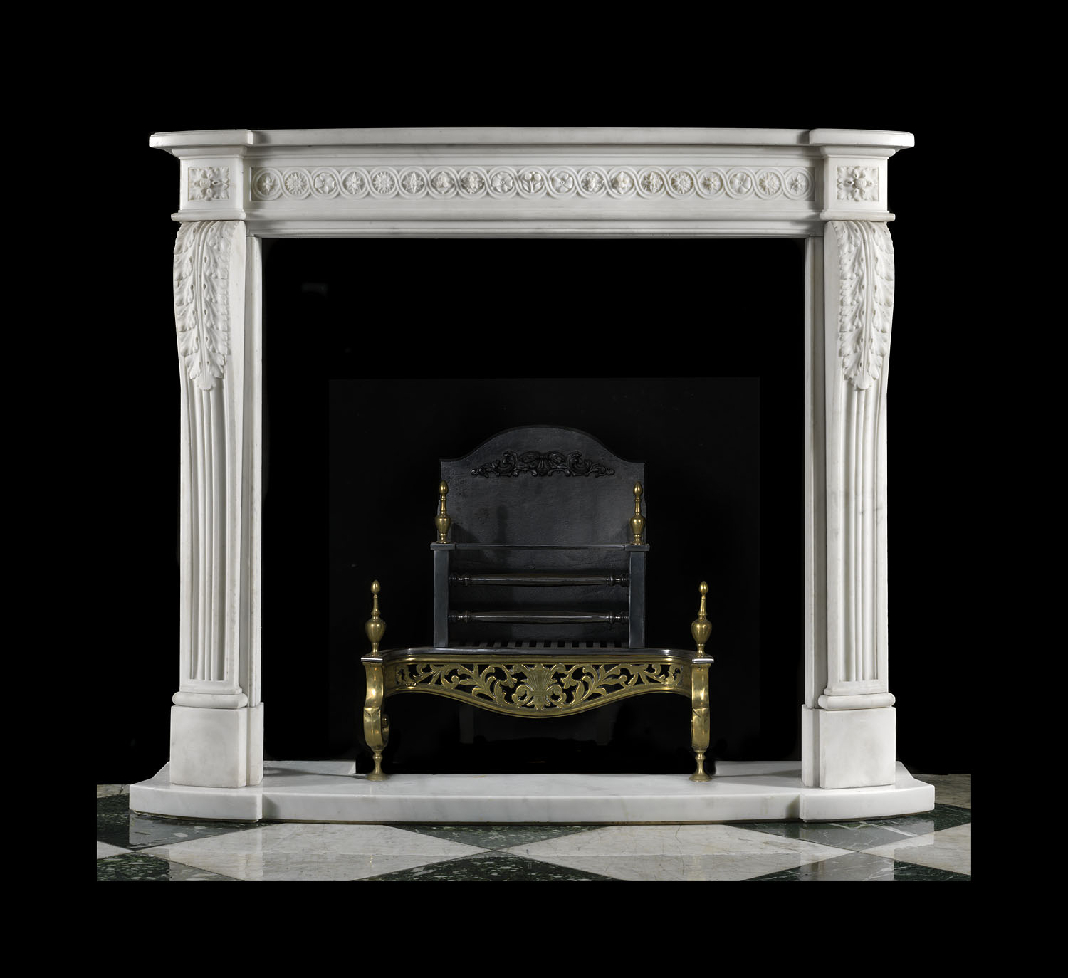 Antique small carved White Marble Louis XVI fireplace in the Regency style