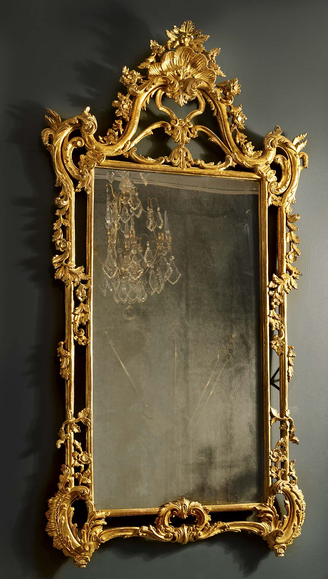 Antique English Rococo Gilded Mirror