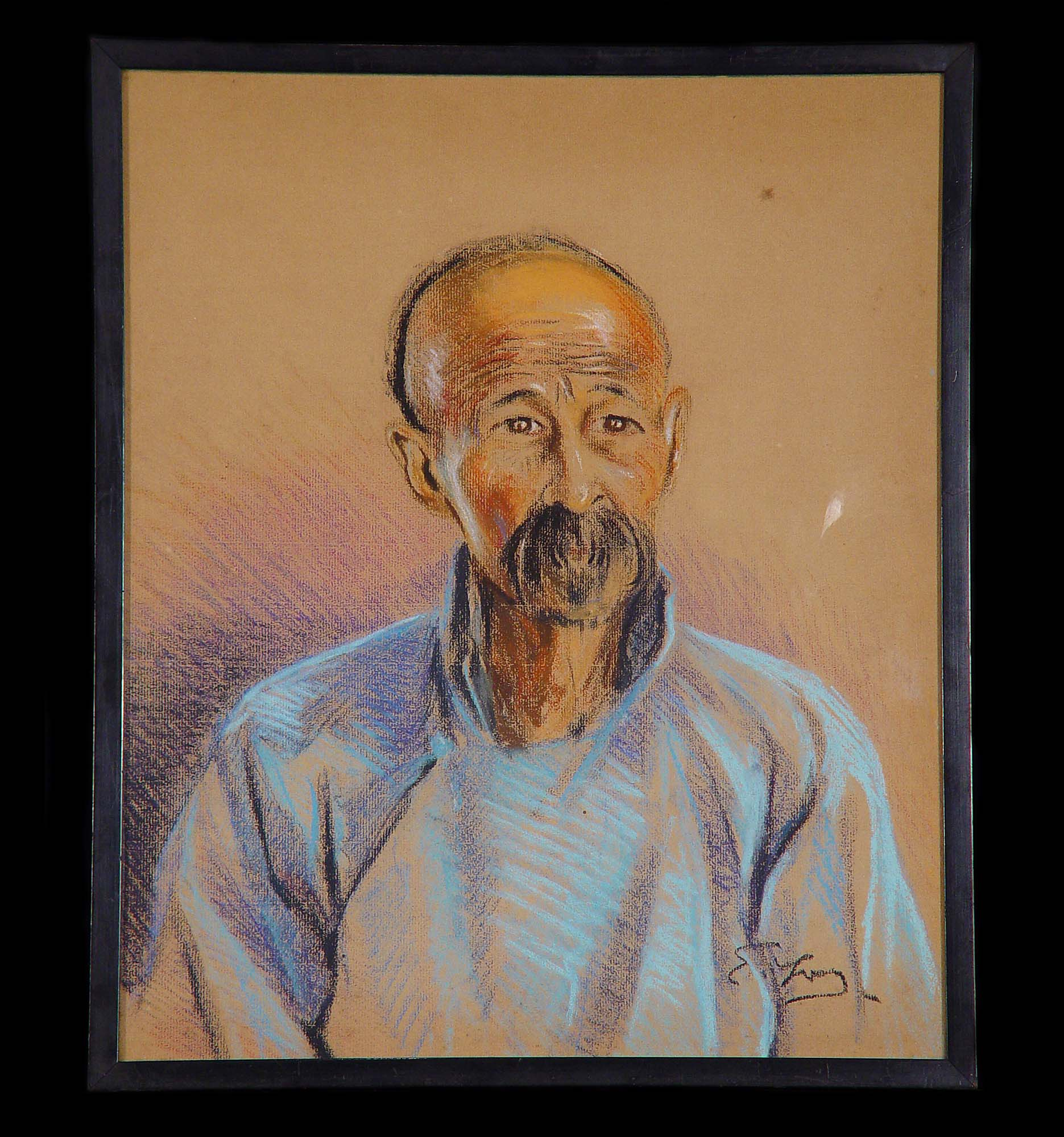 Antique Set of Five dated Pastel Portraits depicting Chinese Characters