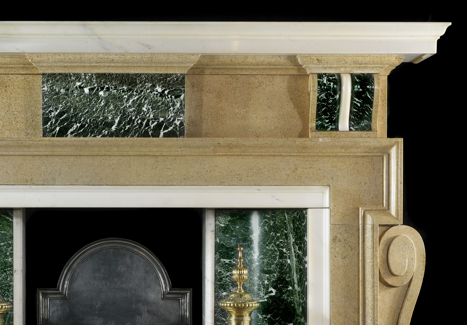 A 20th Century Fossil Stone Palladian style Fire Surround Mantlepiece