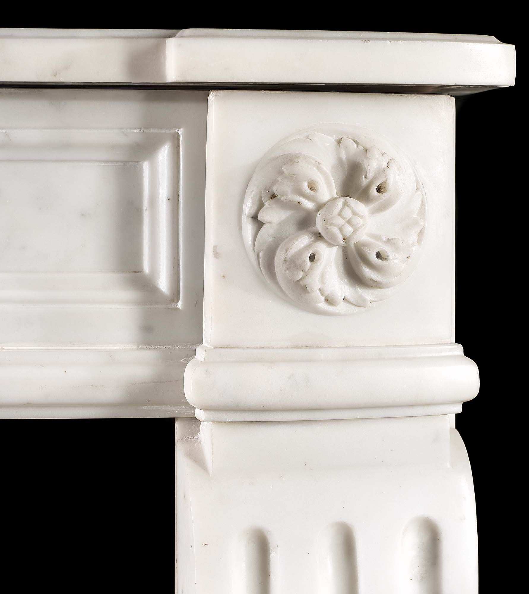 A French Louis XVI statuary marble antique fireplace surround