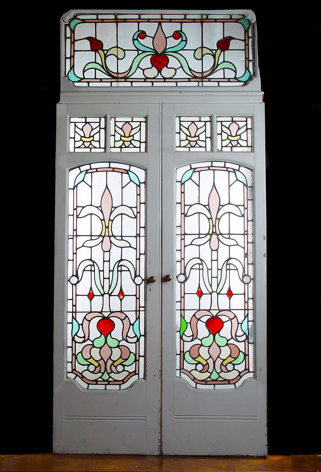 Antique Pair of Stained Glass Art Nouveau Doors