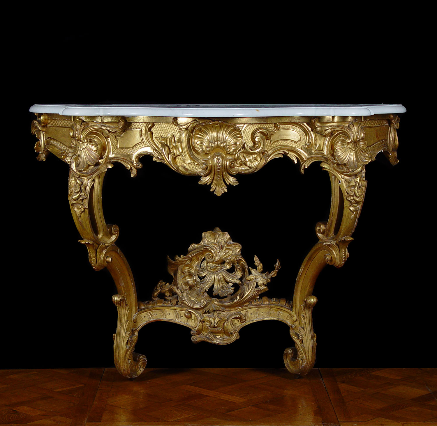Antique Rococo Console Table in Giltwood in a Louis XV manner with marble top