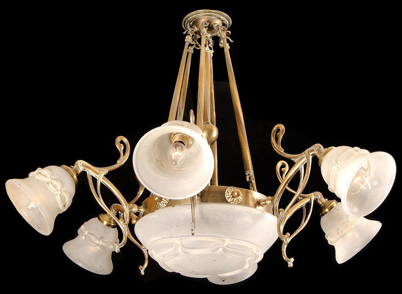 An art nouveau style six branch chandelier for Chandelier art nouveau