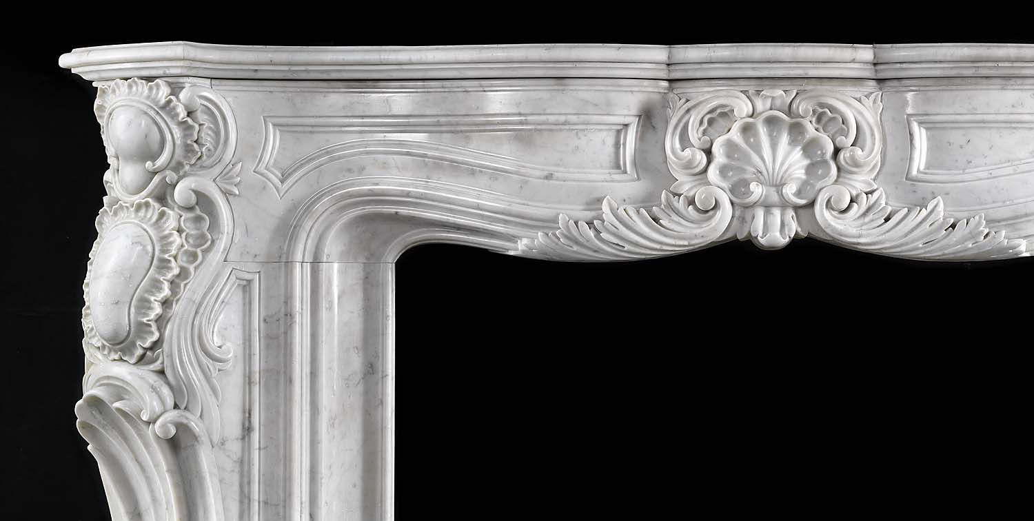 Vast White Marble French Rococo Fireplace Mantel