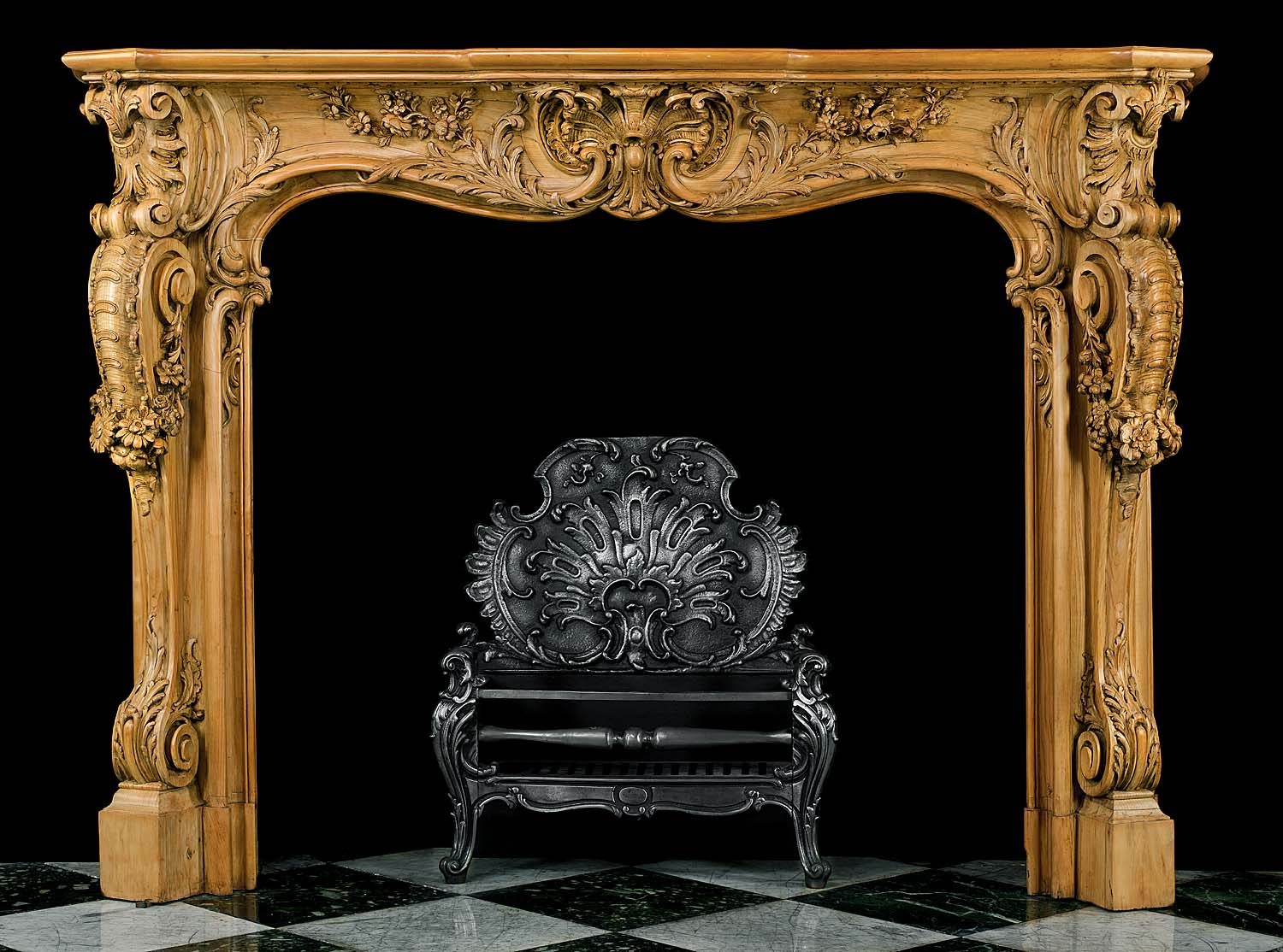 Rare rococo carved pine antique fireplace westland london for What is the other name for the rococo style