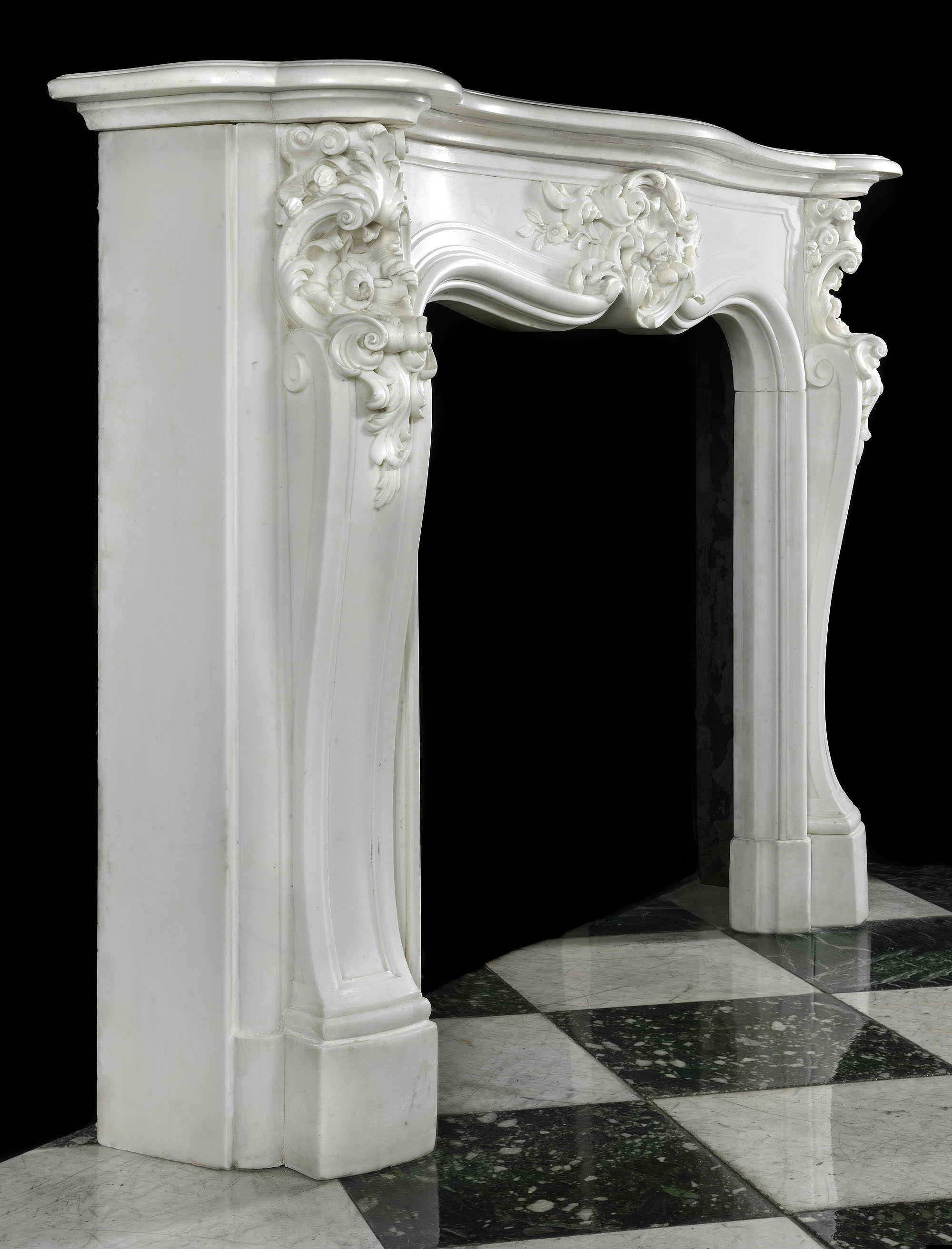 Antique Statuary Marble Rococo Fireplace Mantel Louis XV