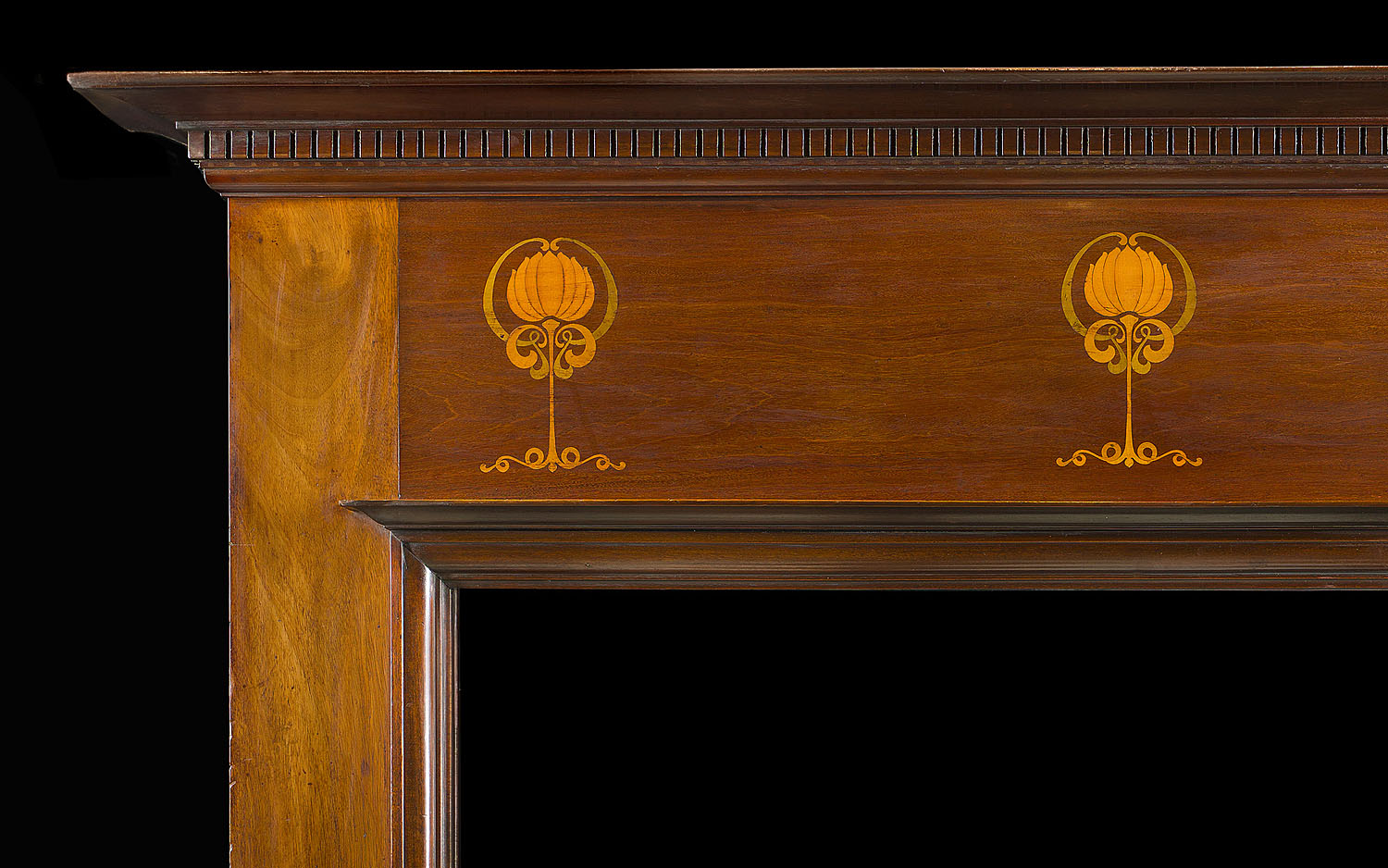 Antique Mahogany Inlaid Marquetry Fireplace Mantel