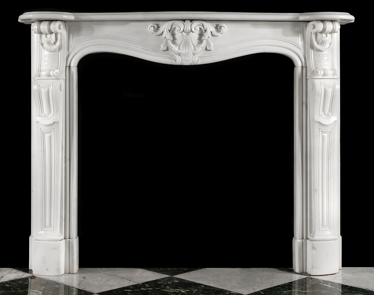 An Antique French statuary marble fireplace surround